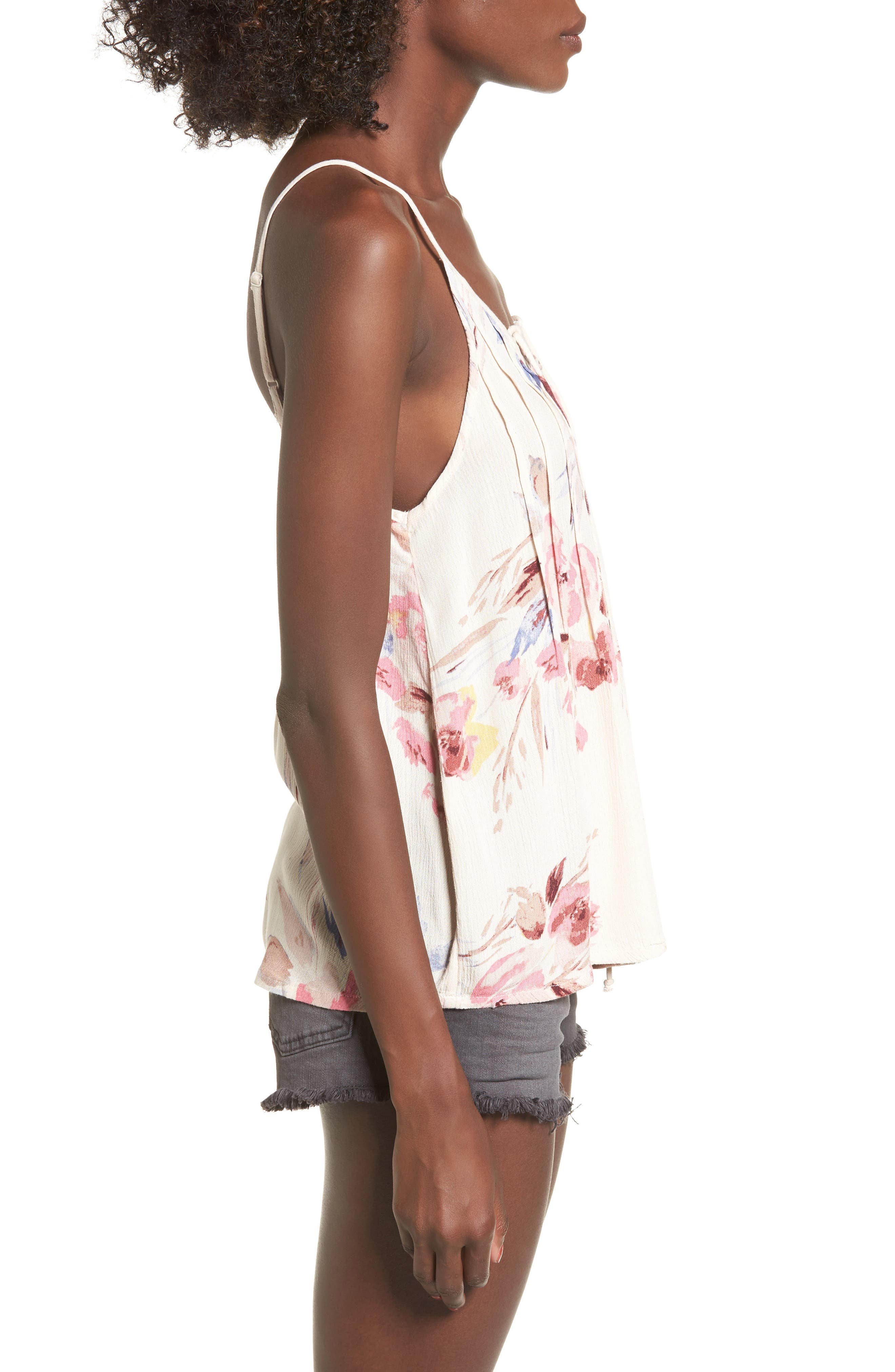 Illusions Of Floral Print Lace-Up Tank,                             Alternate thumbnail 3, color,                             900