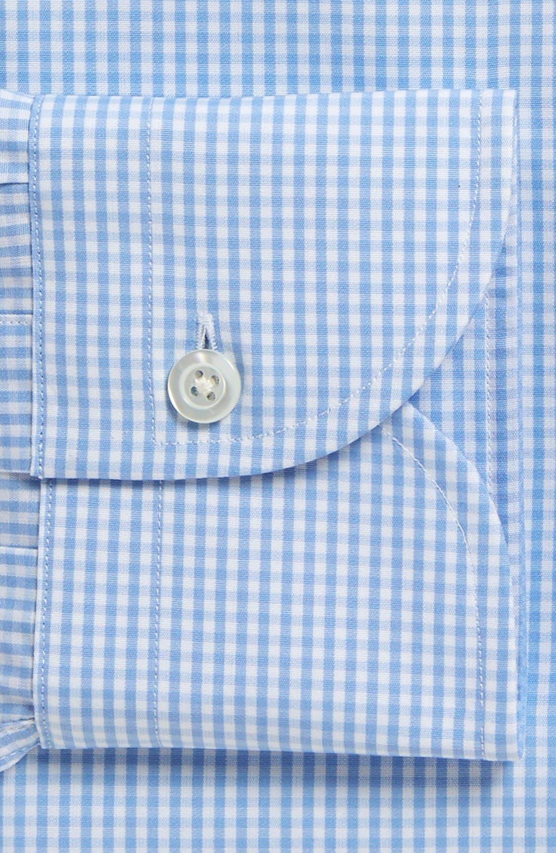 'Blue Gingham' Slim Fit Check Dress Shirt,                             Alternate thumbnail 4, color,