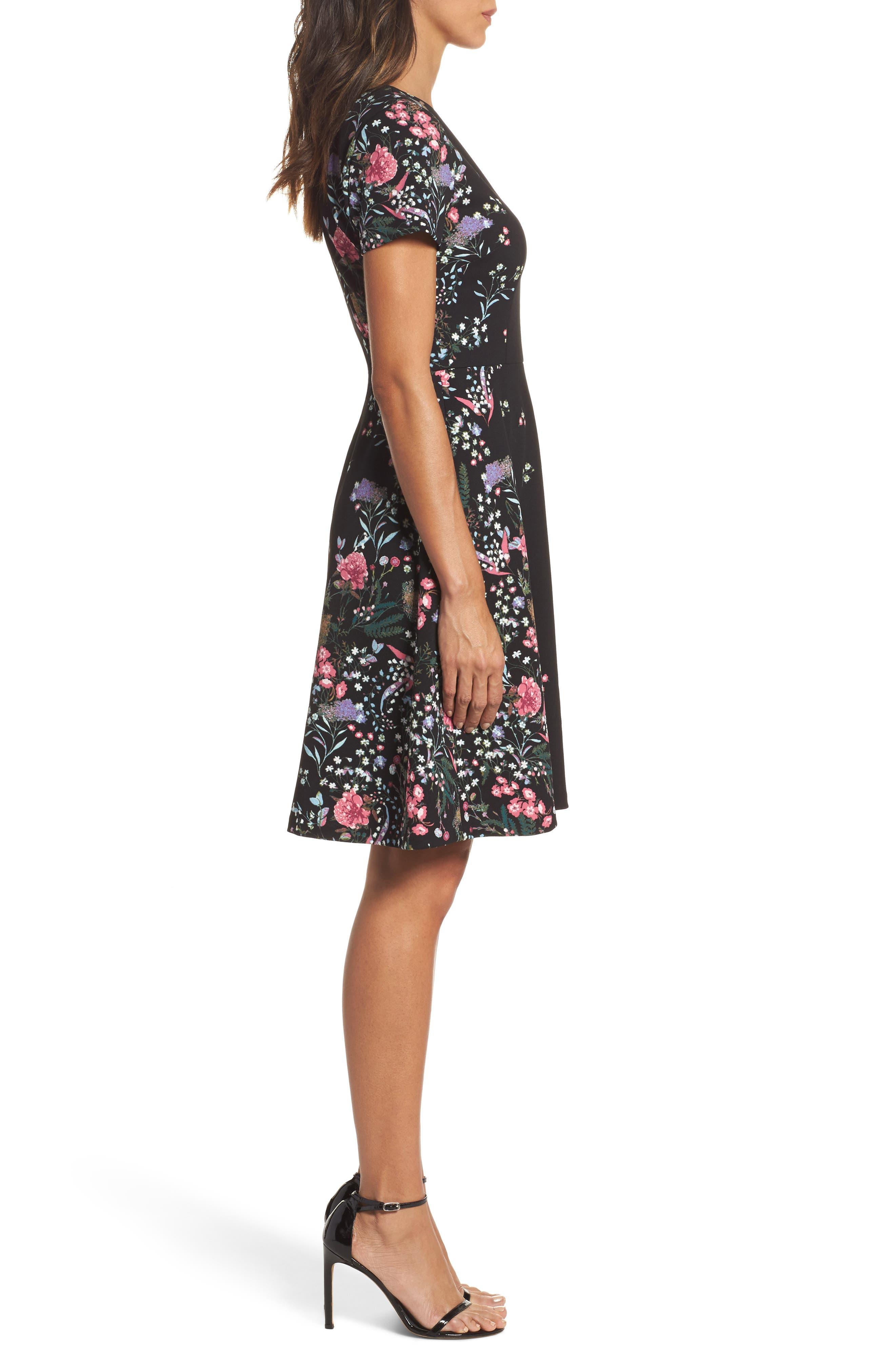 Print Scuba Knit Fit & Flare Dress,                             Alternate thumbnail 3, color,                             009