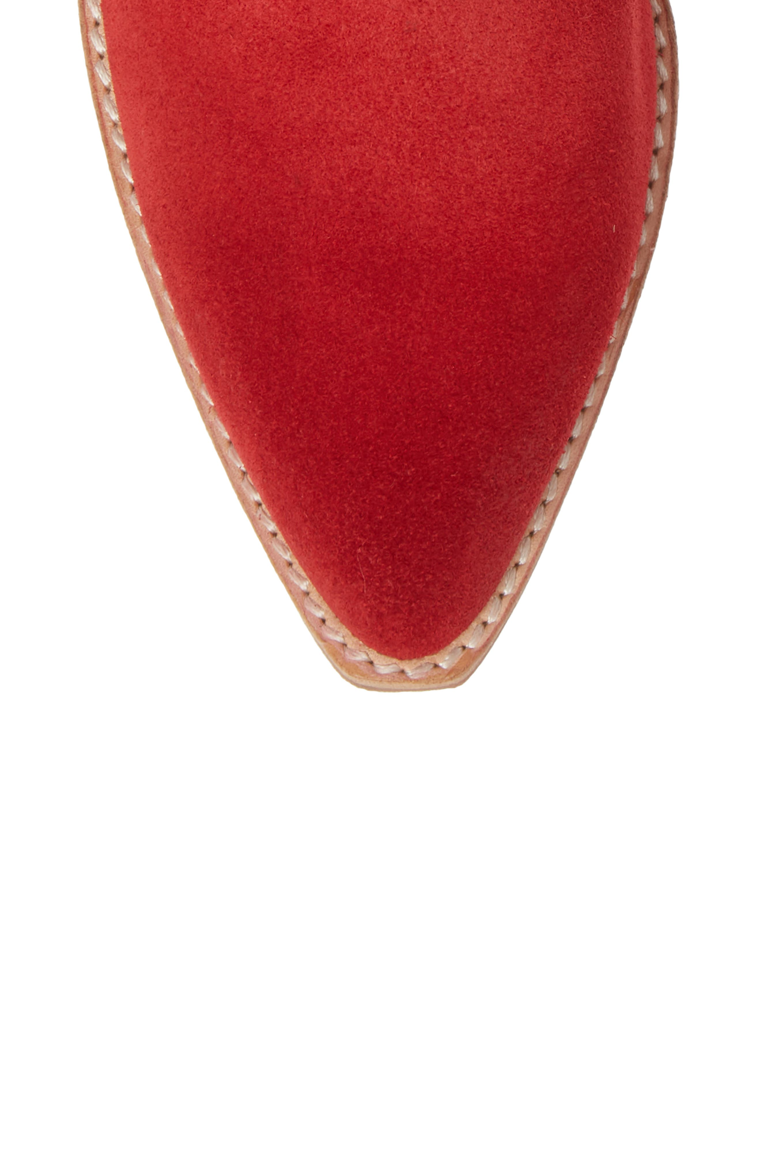 Calvera Western Boot,                             Alternate thumbnail 5, color,                             RED SUEDE