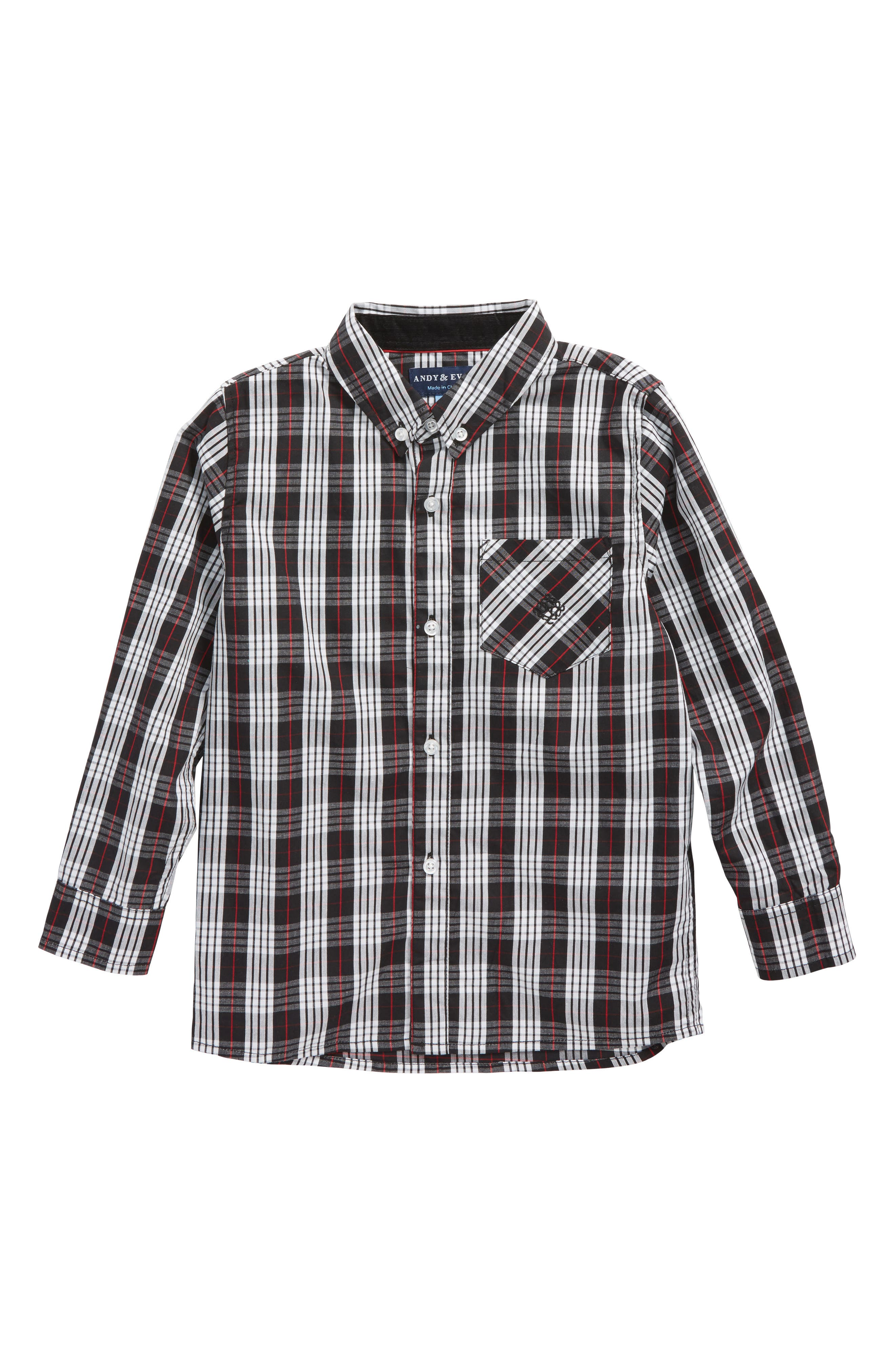 Plaid Woven Shirt,                             Main thumbnail 1, color,                             002