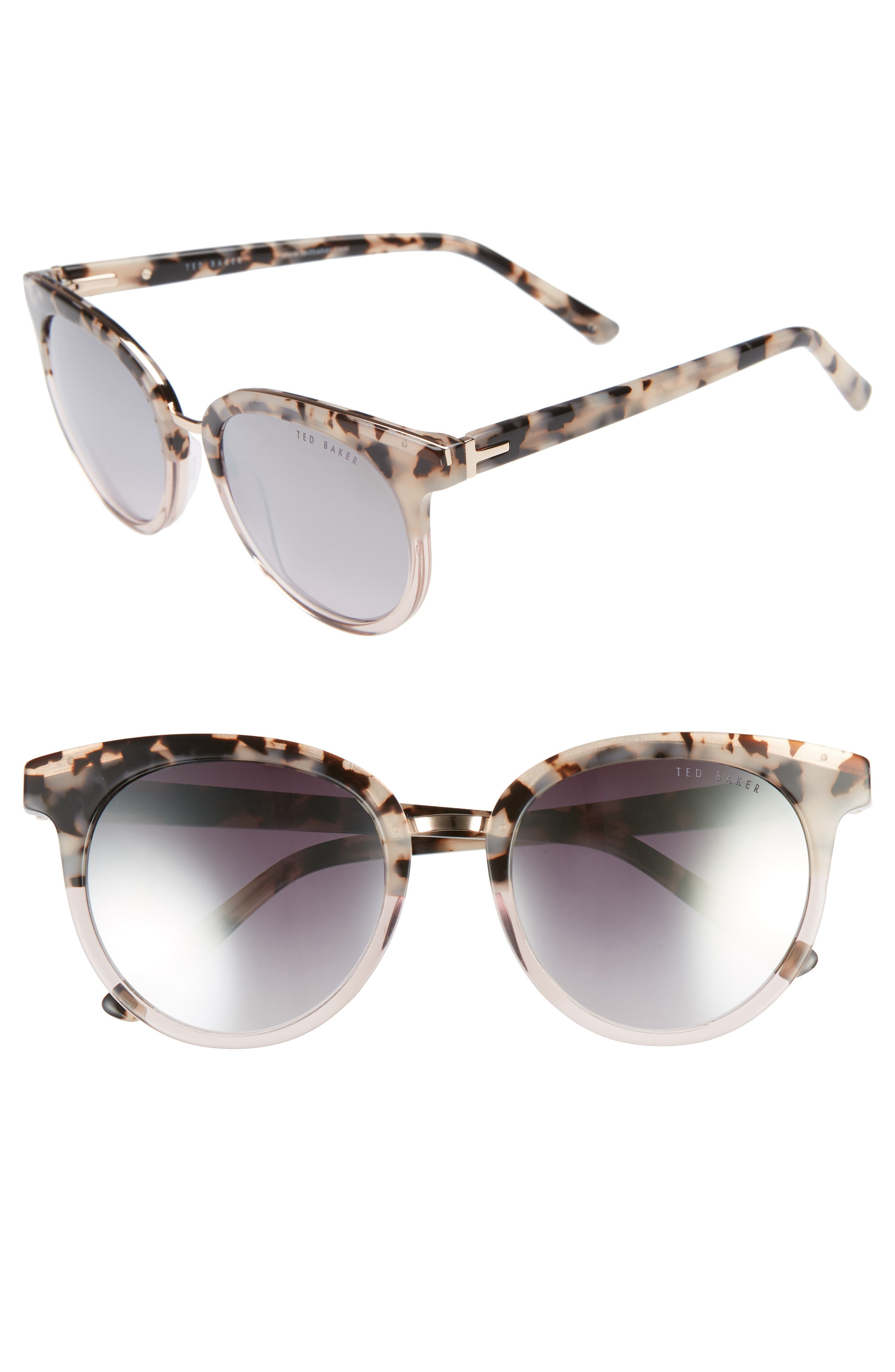 52mm Round Sunglasses,                         Main,                         color, IVORY