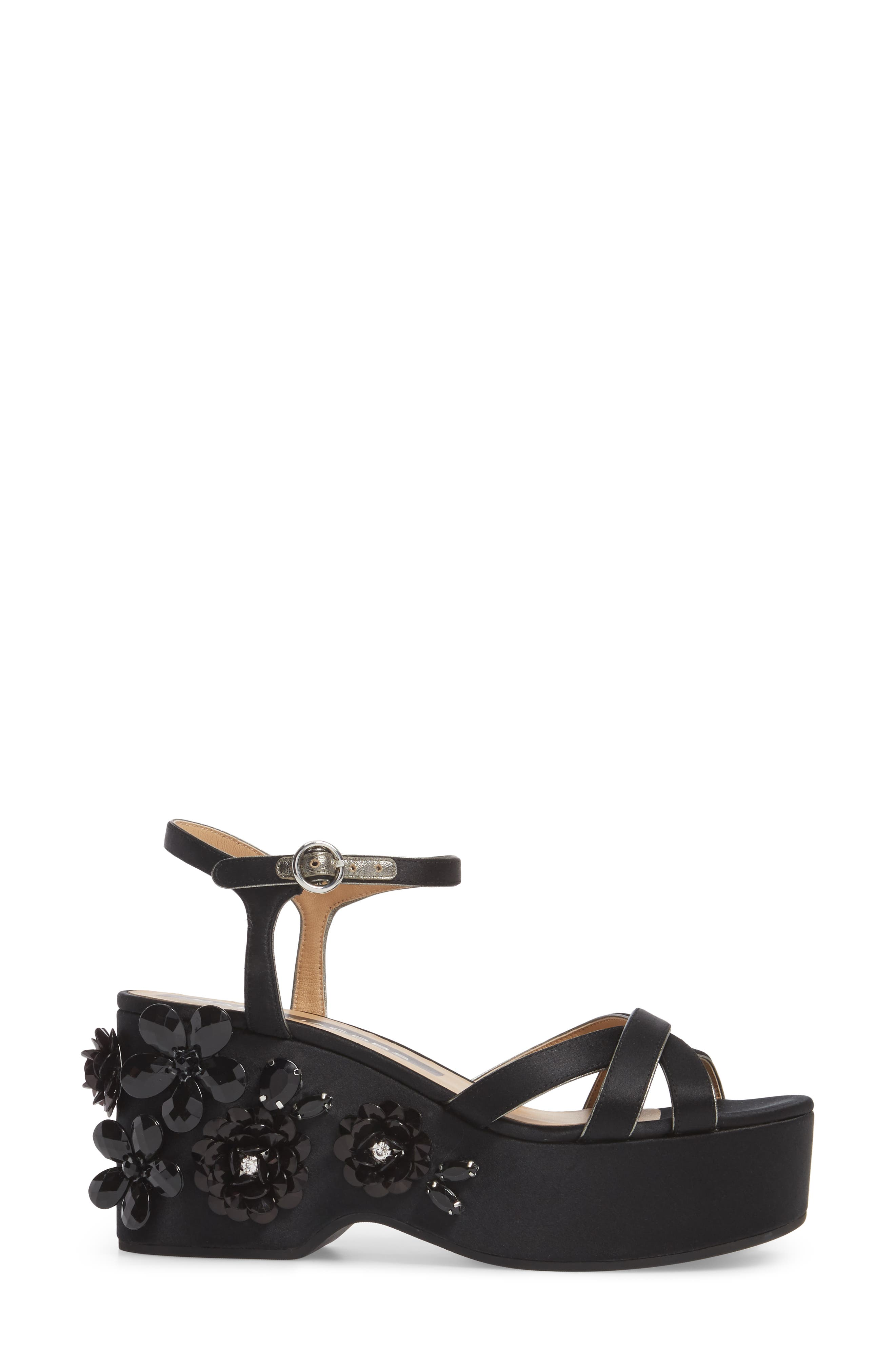 Callie Embellished Platform Sandal,                             Alternate thumbnail 3, color,                             001