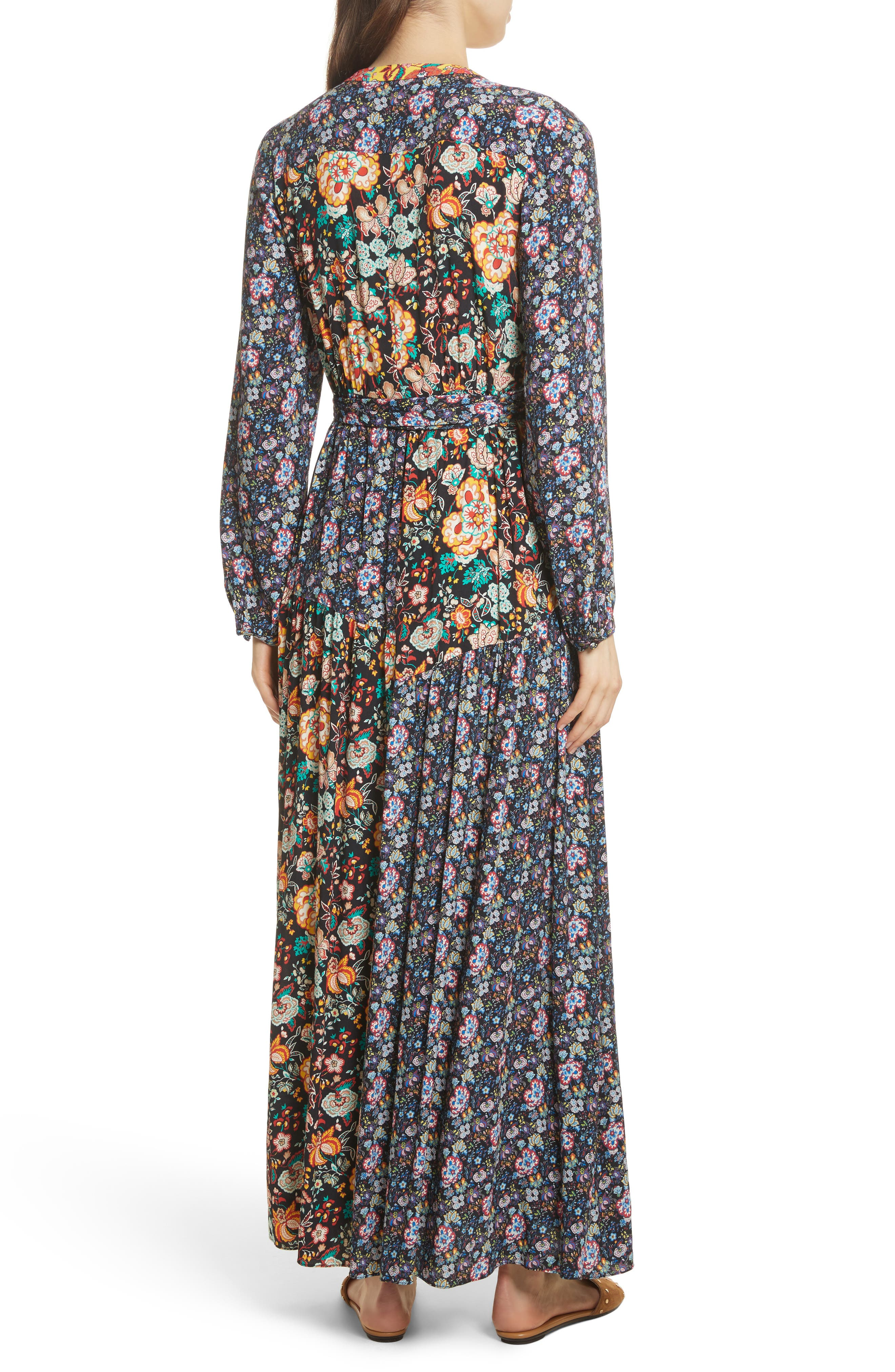 Mixed Floral Wrap Dress,                             Alternate thumbnail 2, color,