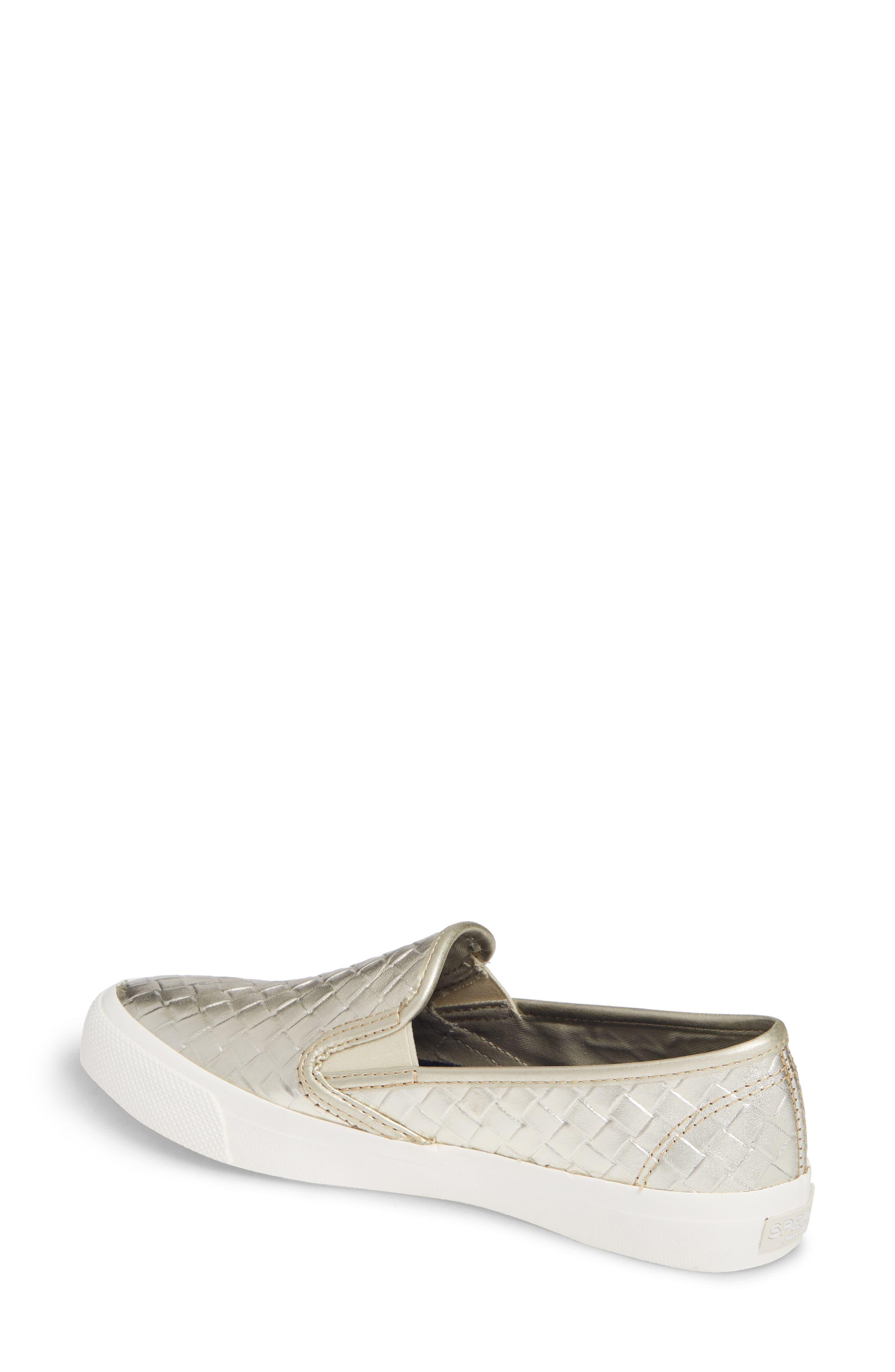 Seaside Embossed Weave Slip-On Sneaker,                             Alternate thumbnail 2, color,                             PLATINUM LEATHER