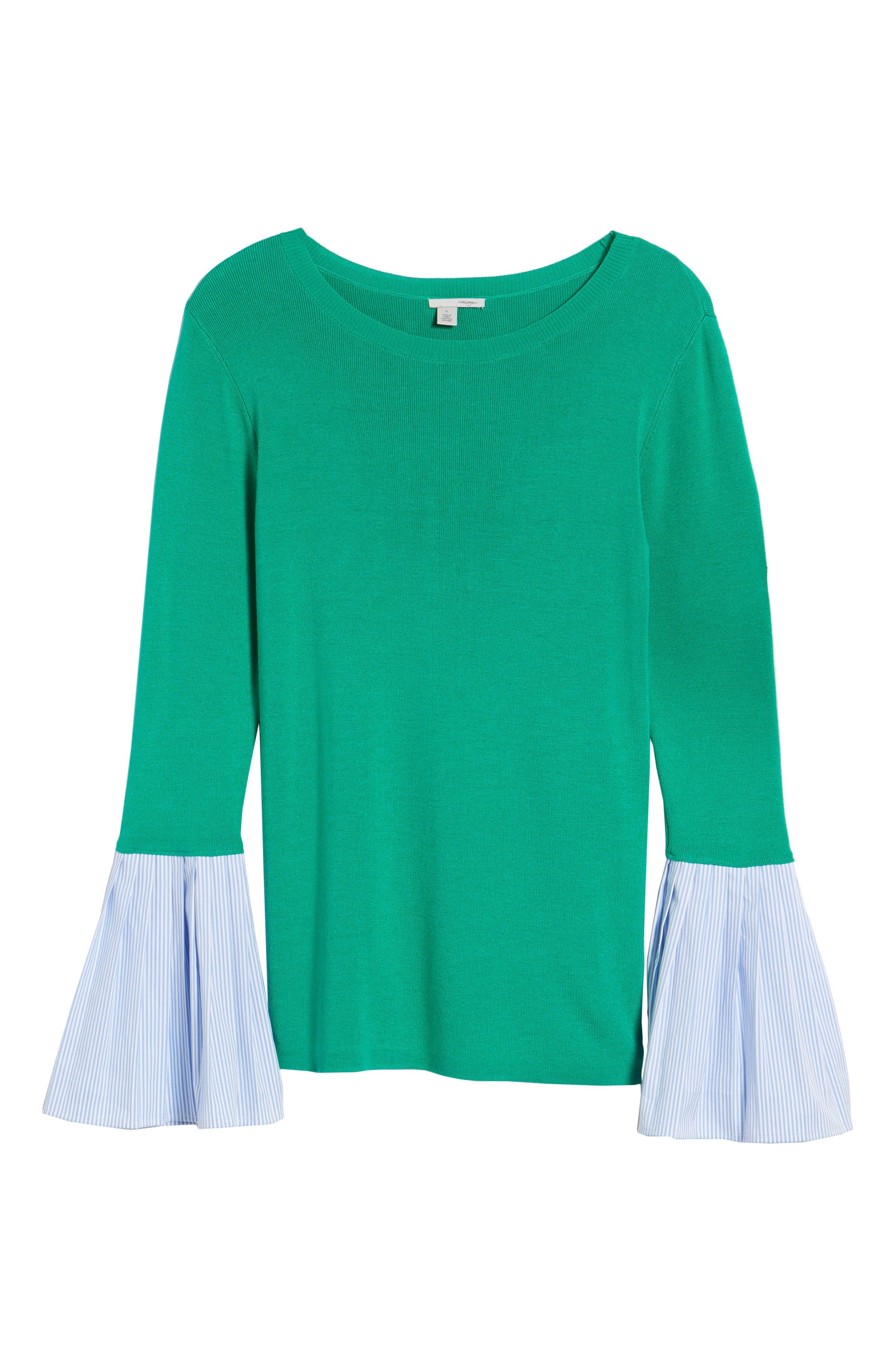 Poplin Bell Cuff Sweater,                             Alternate thumbnail 22, color,