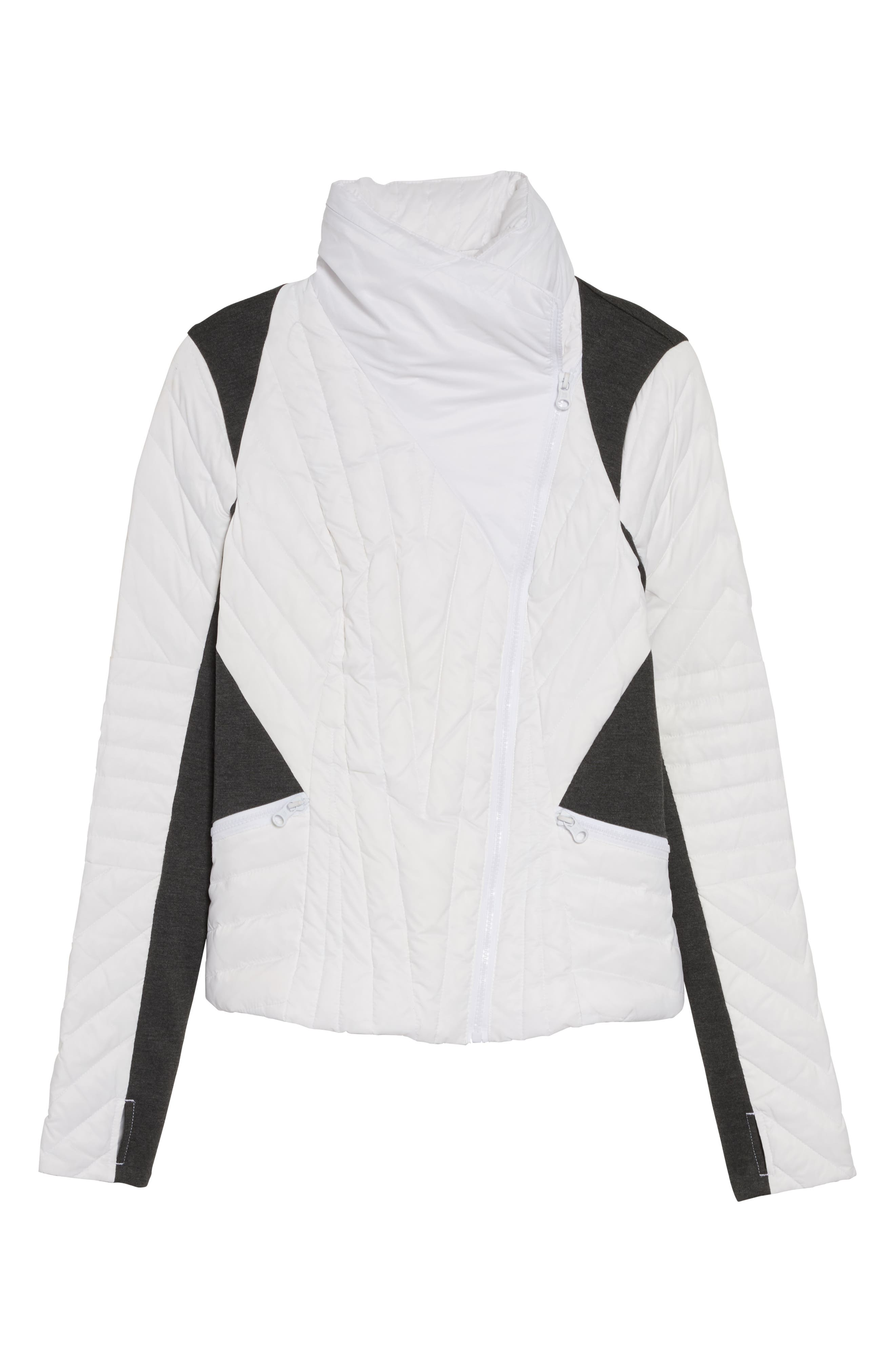 BLANC NOIR,                             Motion Panel Down Puffer Jacket,                             Alternate thumbnail 6, color,                             WHITE/ HEATHER GREY