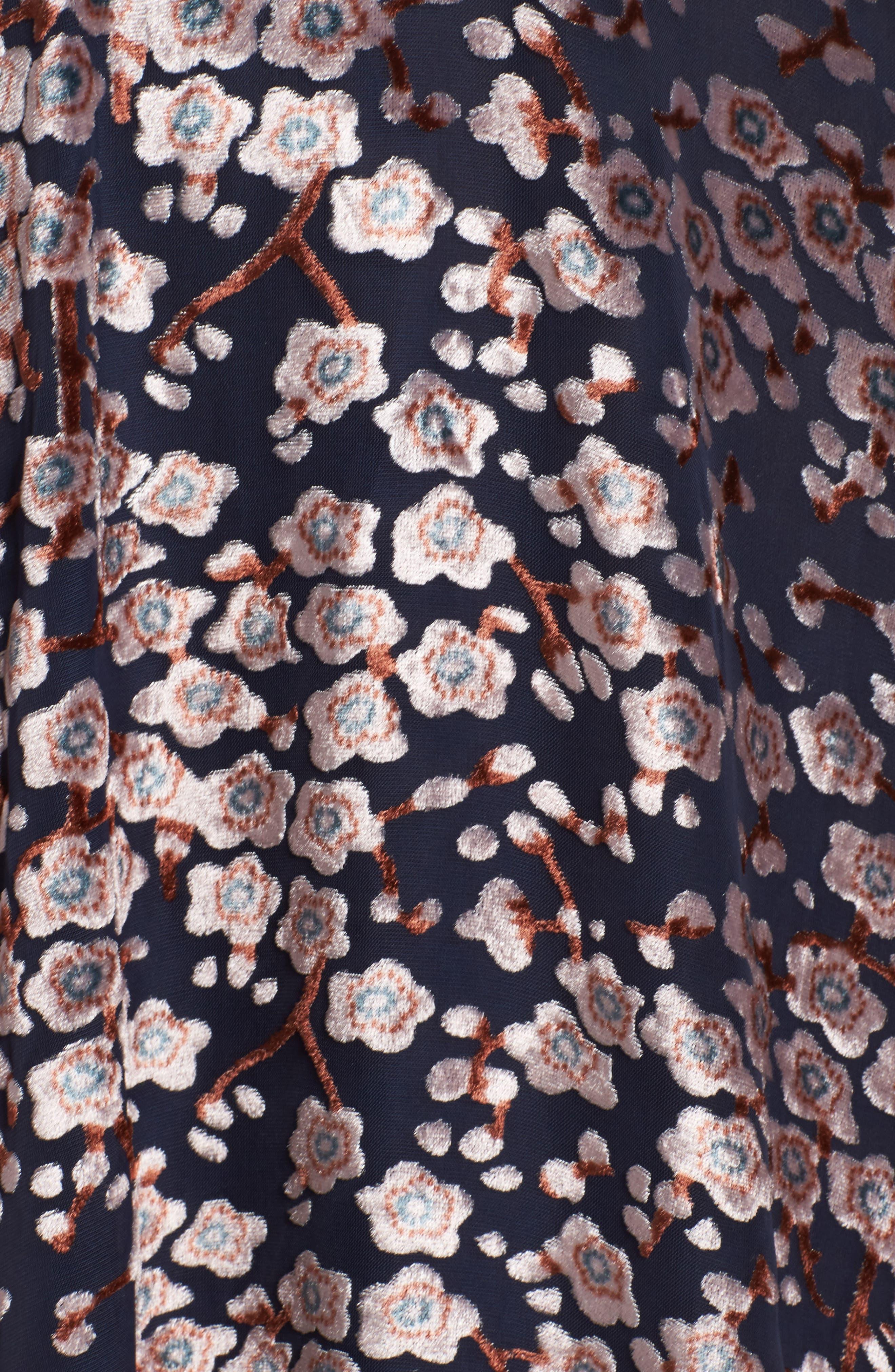Cosimia Burnout Velvet Midi Dress,                             Alternate thumbnail 5, color,                             026