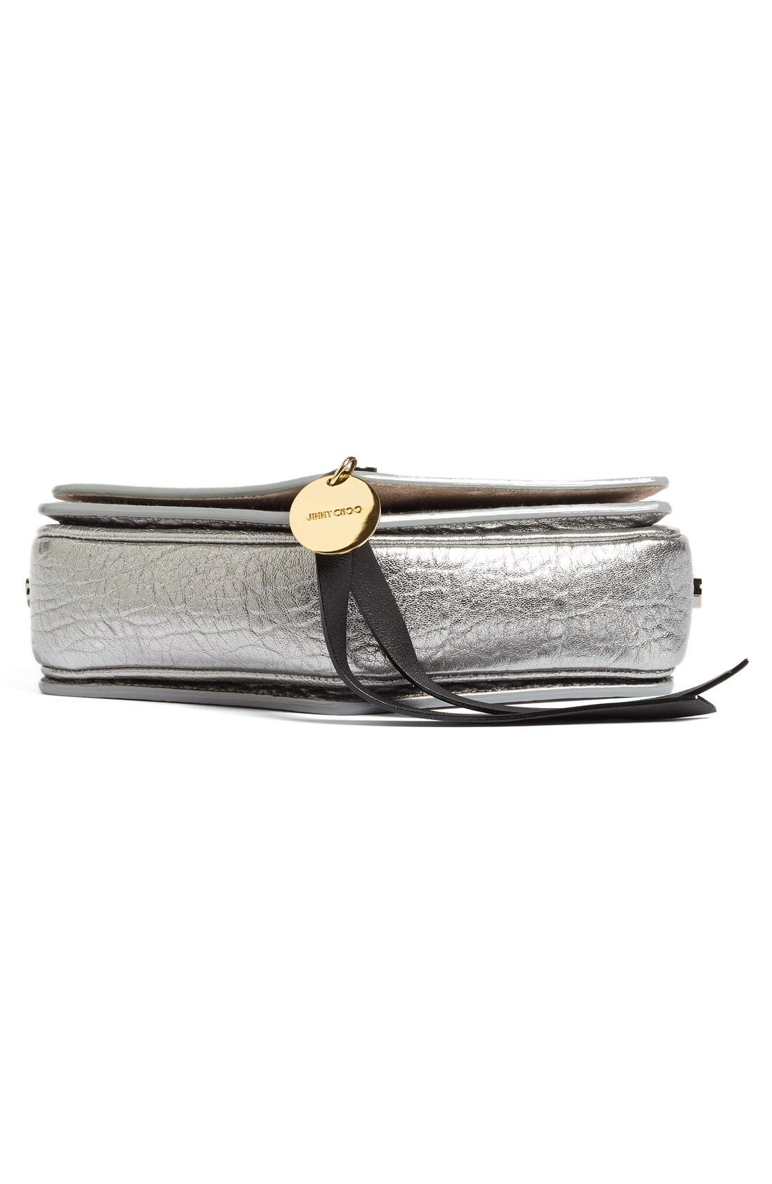 Arrow Metallic Grained Leather Shoulder Bag,                             Alternate thumbnail 6, color,                             045