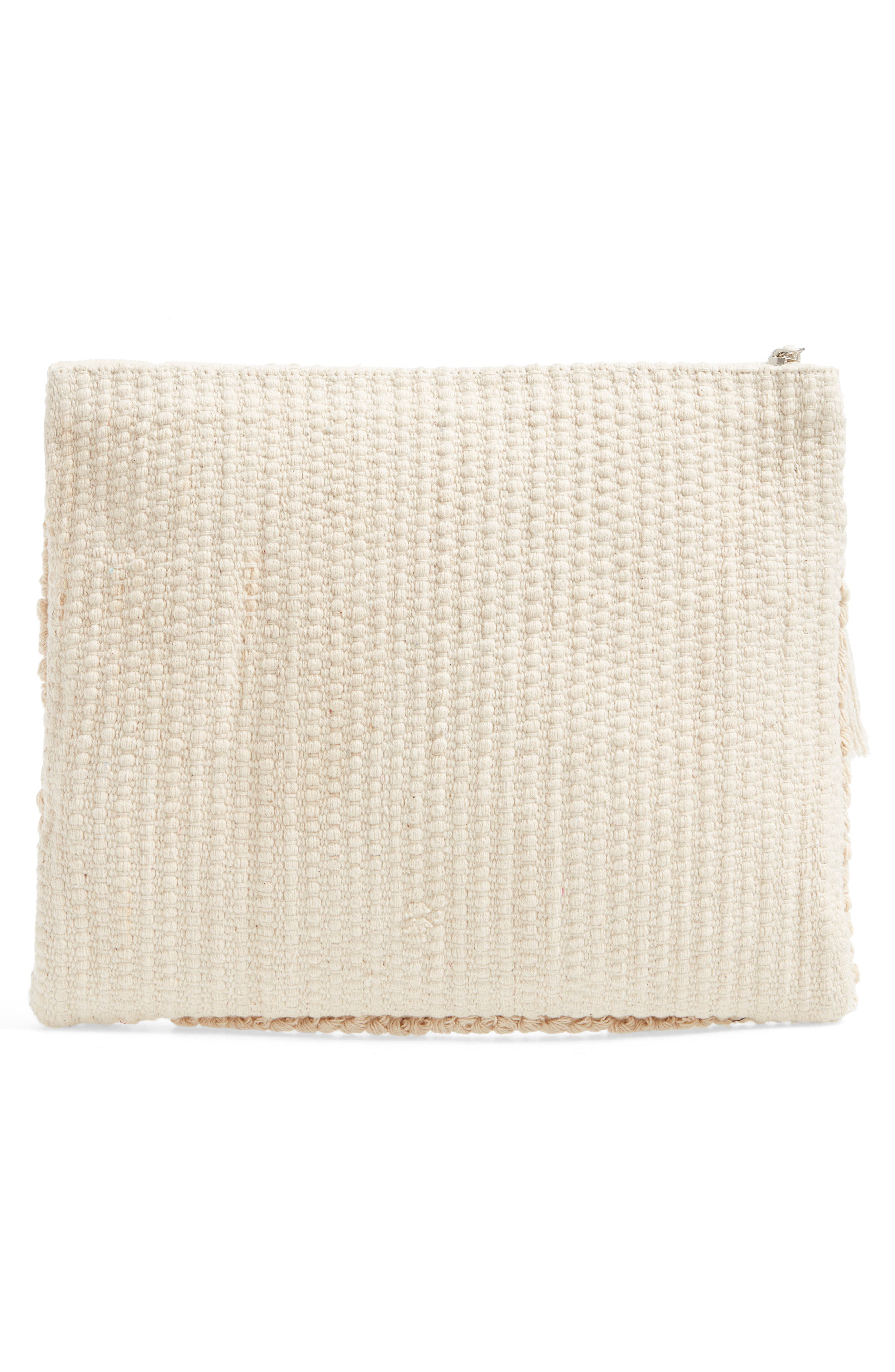 Palisades Tasseled Woven Clutch,                             Alternate thumbnail 13, color,