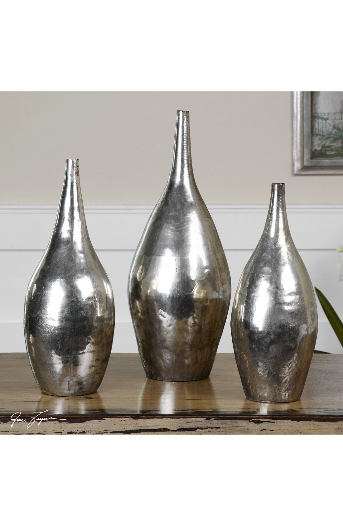 'Rajata' Antiqued Metal Vases,                             Alternate thumbnail 2, color,                             040
