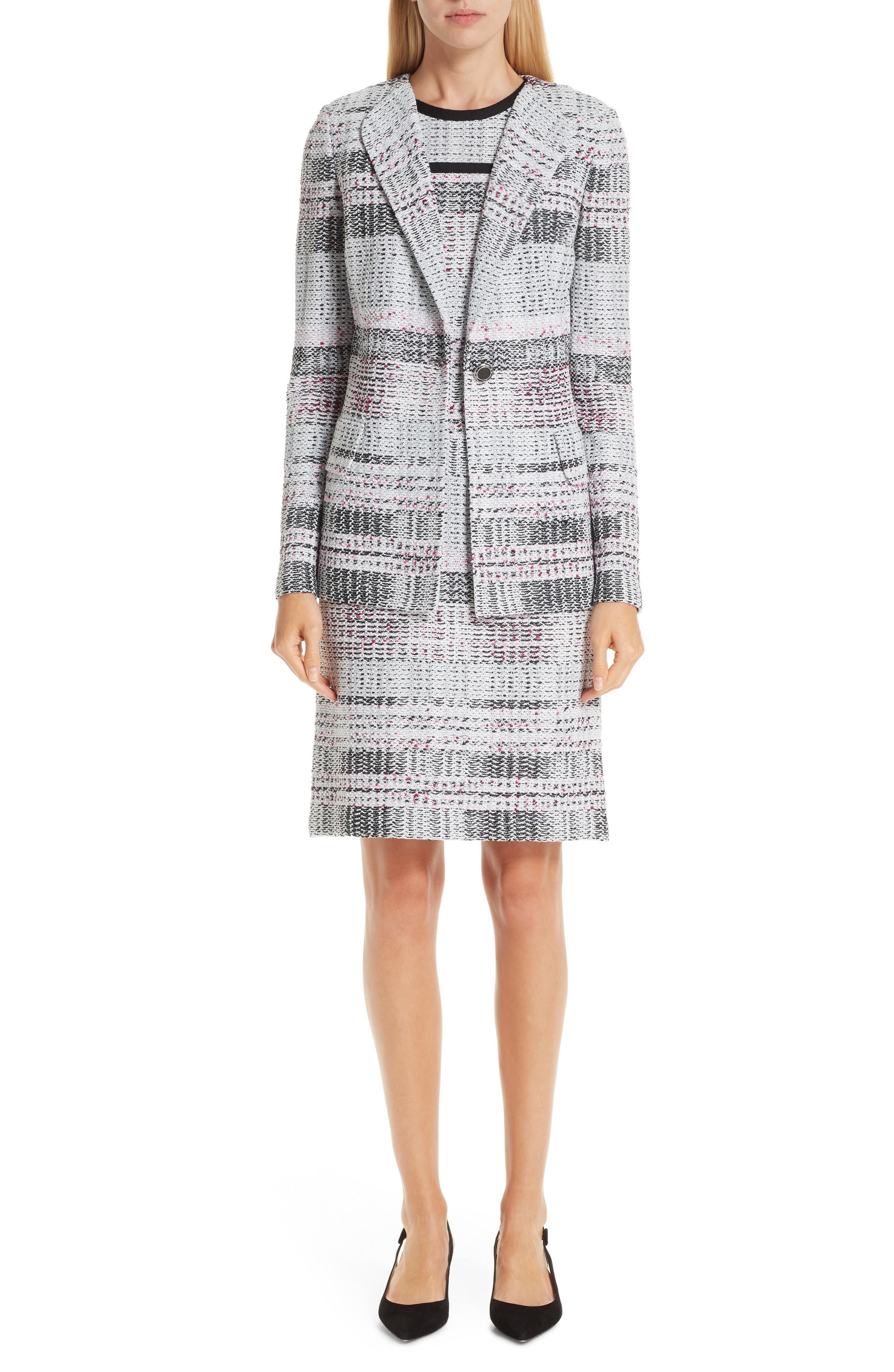 Bianca Plaid Knit Sheath Dress,                             Alternate thumbnail 8, color,                             GREY MULTI