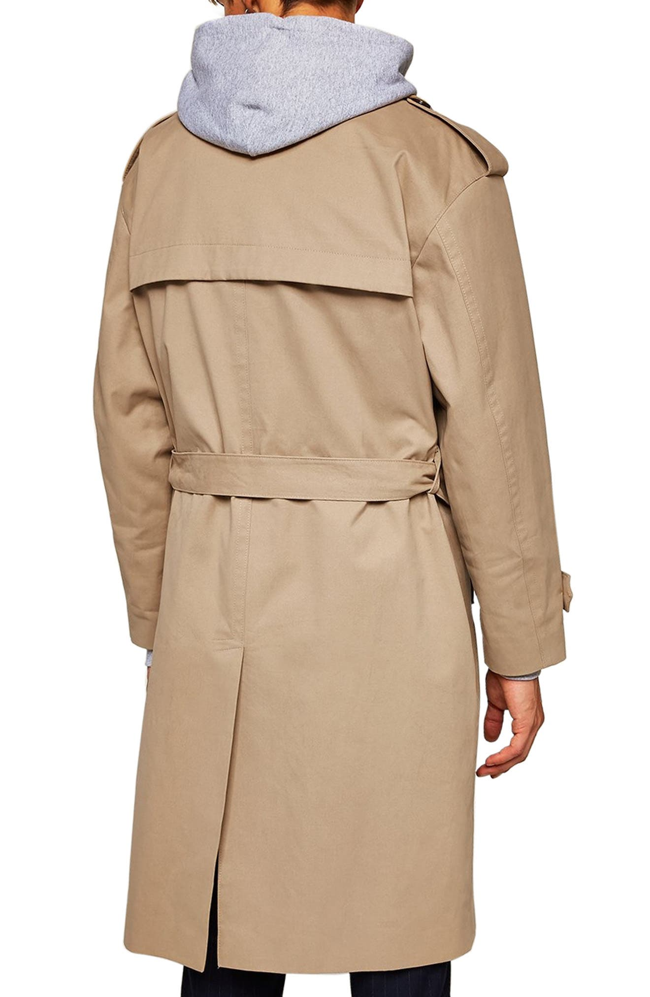Double Breasted Trench Coat,                             Alternate thumbnail 2, color,                             STONE