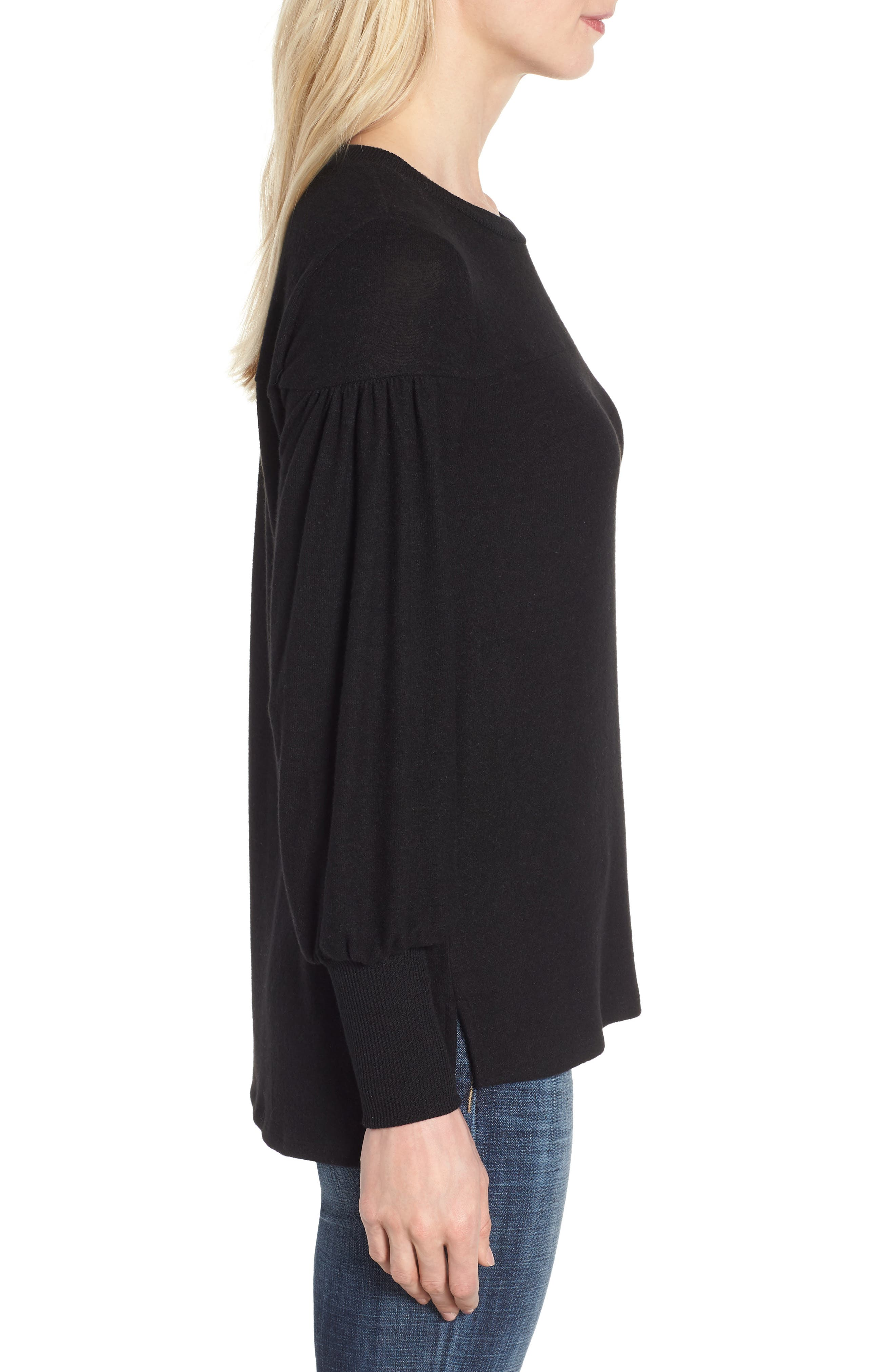 Blouson Sleeve Cozy Fleece Pullover,                             Alternate thumbnail 3, color,                             BLACK