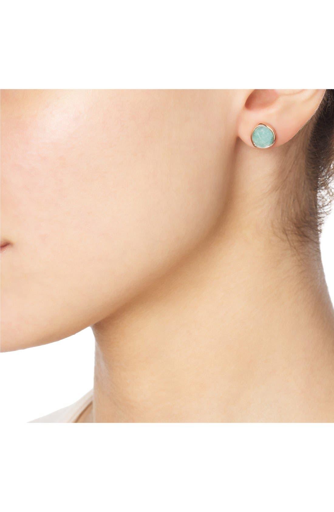 'Siren' Semiprecious Stone Stud Earrings,                             Alternate thumbnail 3, color,                             AMAZONITE/ ROSE GOLD