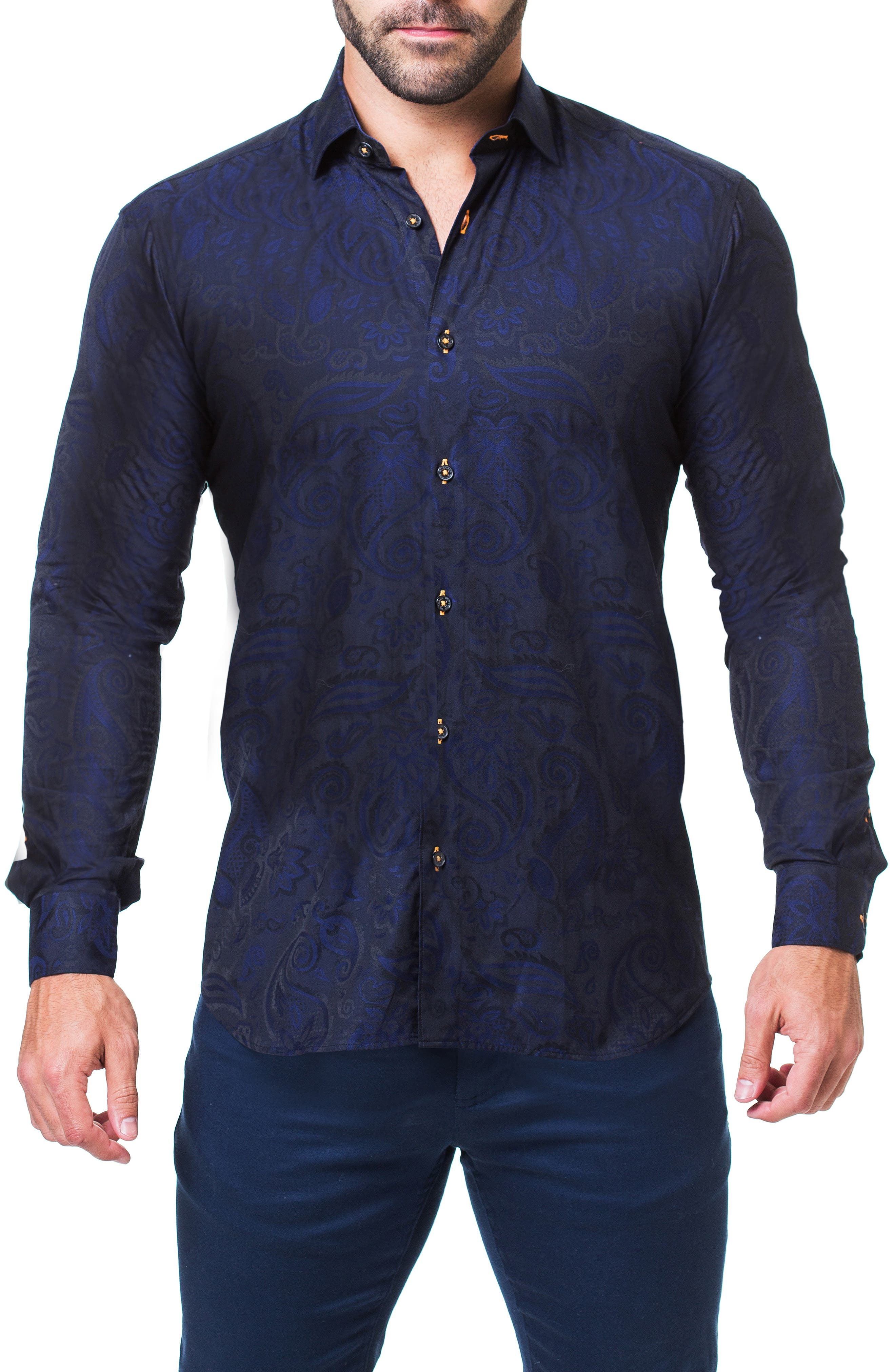 Fibonacci Paisley Trim Fit Sport Shirt,                         Main,                         color, BLUE