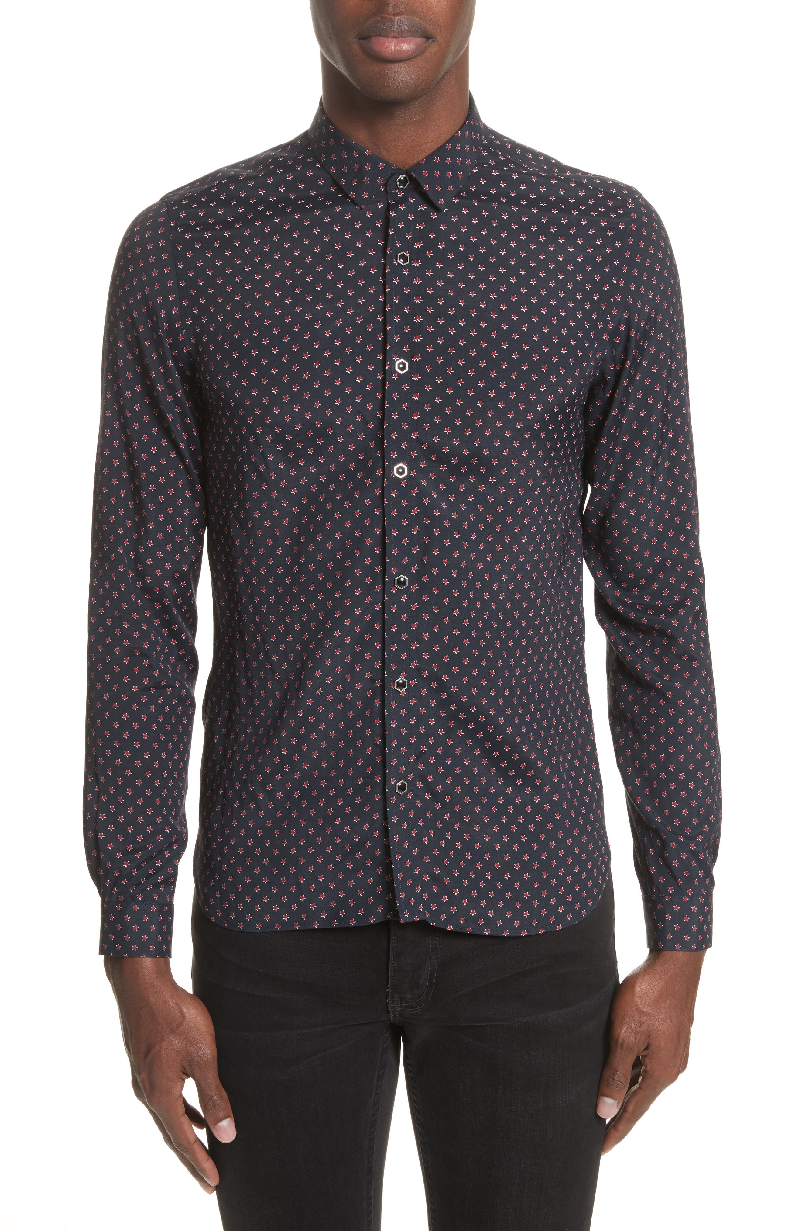 Star Print Shirt,                         Main,                         color, 400