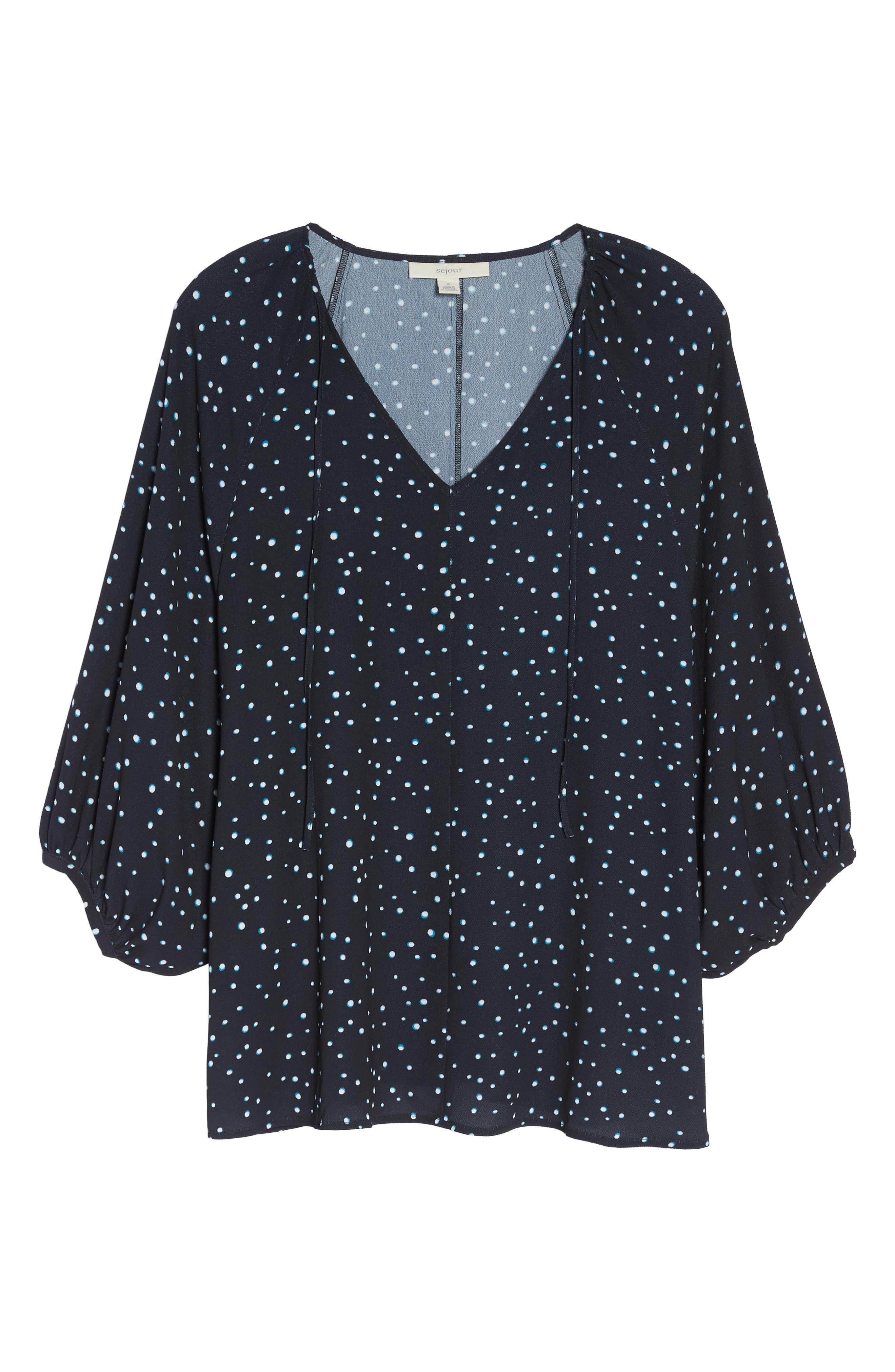 Batwing Top,                             Alternate thumbnail 6, color,                             BLACK- BLUE SHADOW DOT PRINT