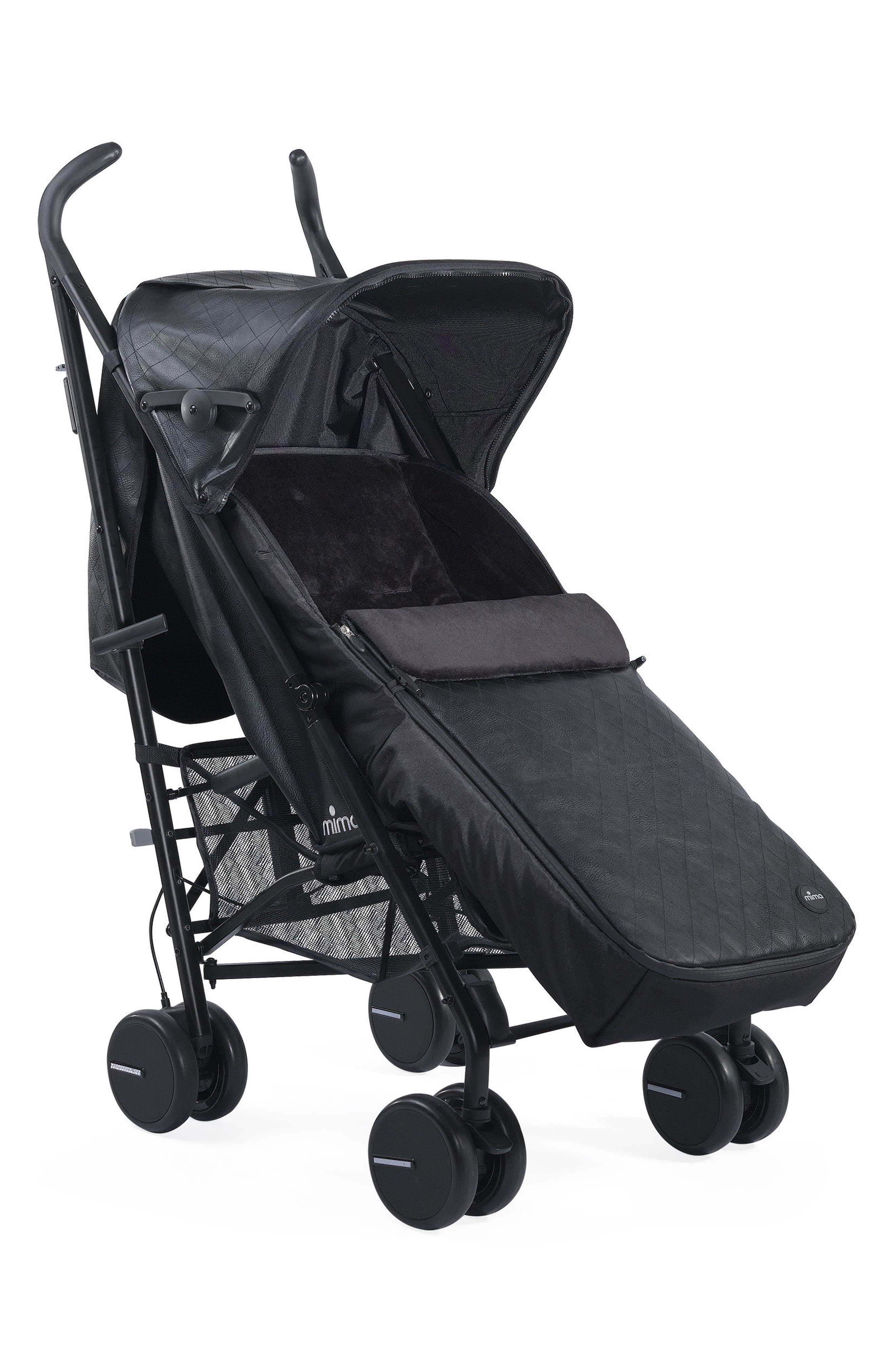 Faux Leather Footmuff for Mima Bo Stroller,                             Alternate thumbnail 2, color,                             BLACK