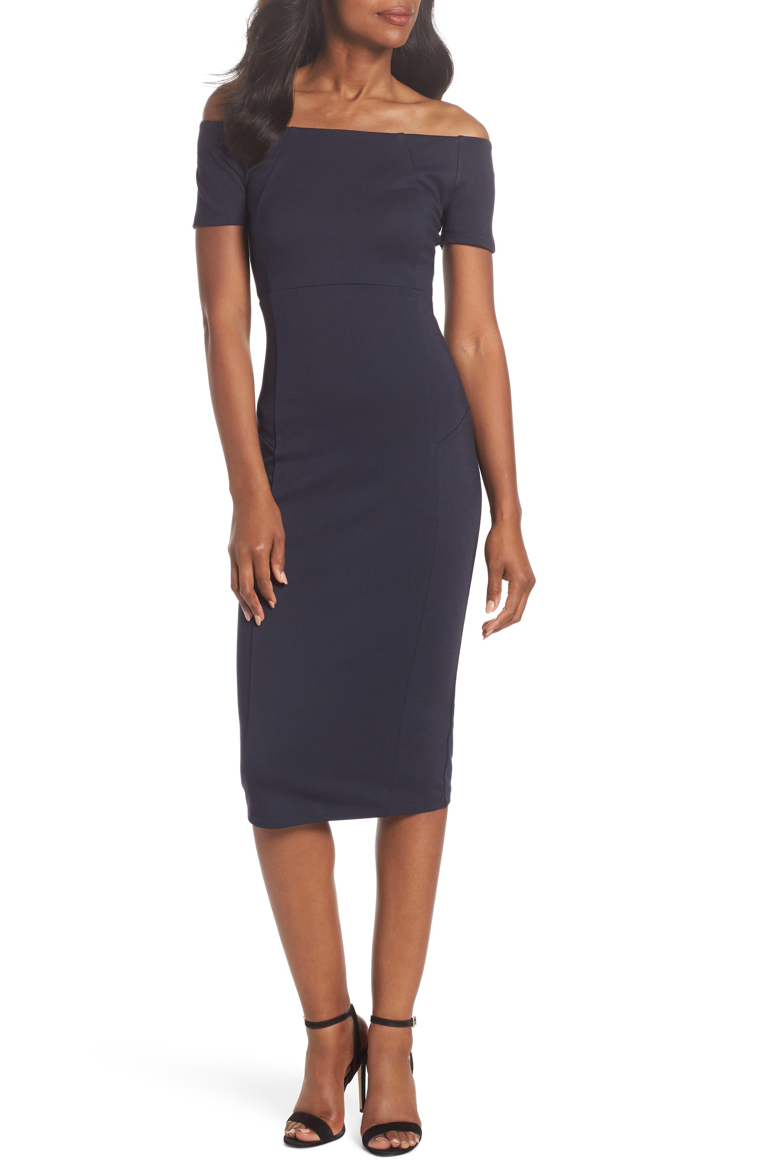 Off the Shoulder Sheath Dress,                         Main,                         color, 400
