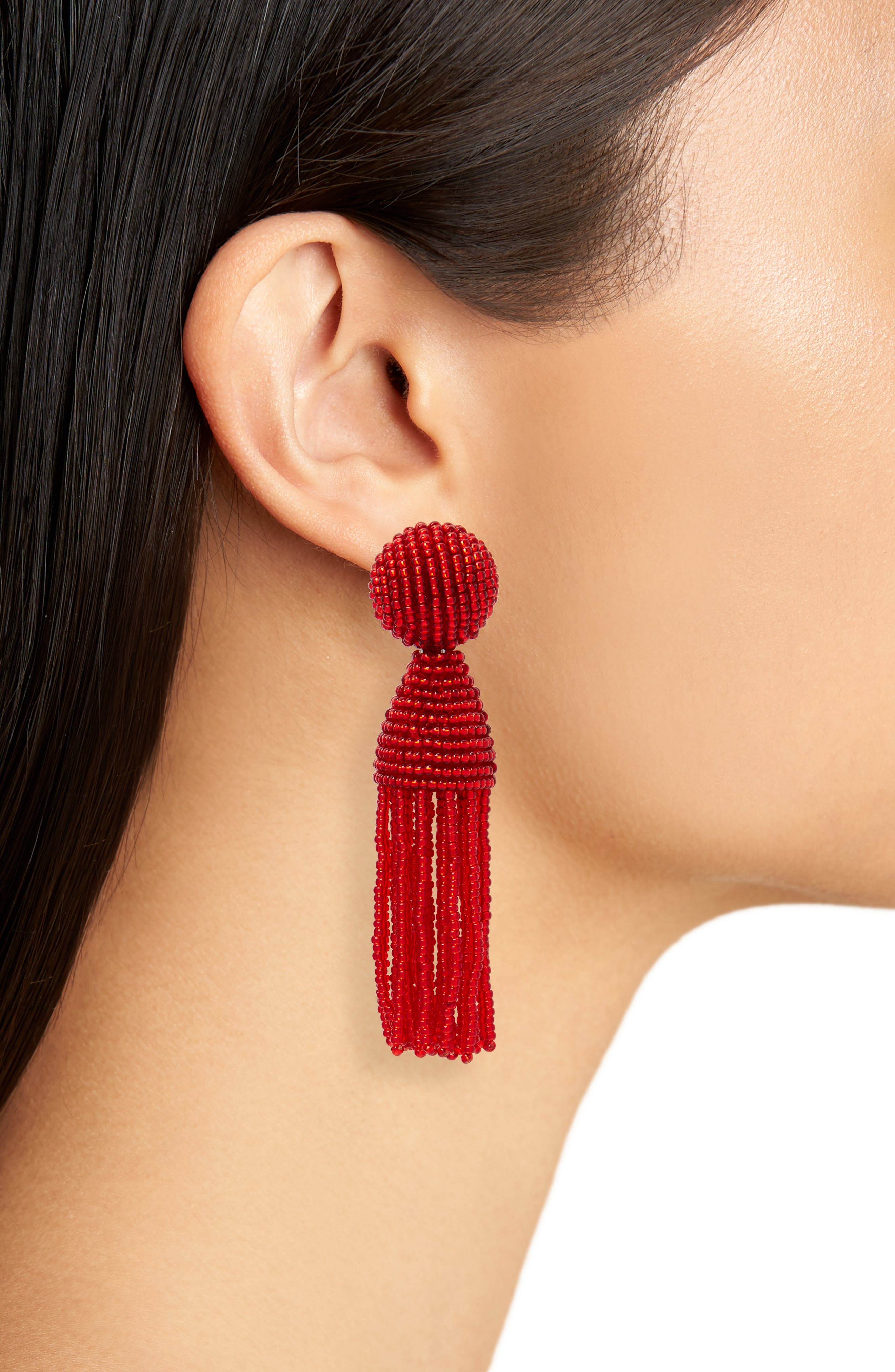 'Classic Short' Tassel Drop Clip Earrings,                             Alternate thumbnail 39, color,
