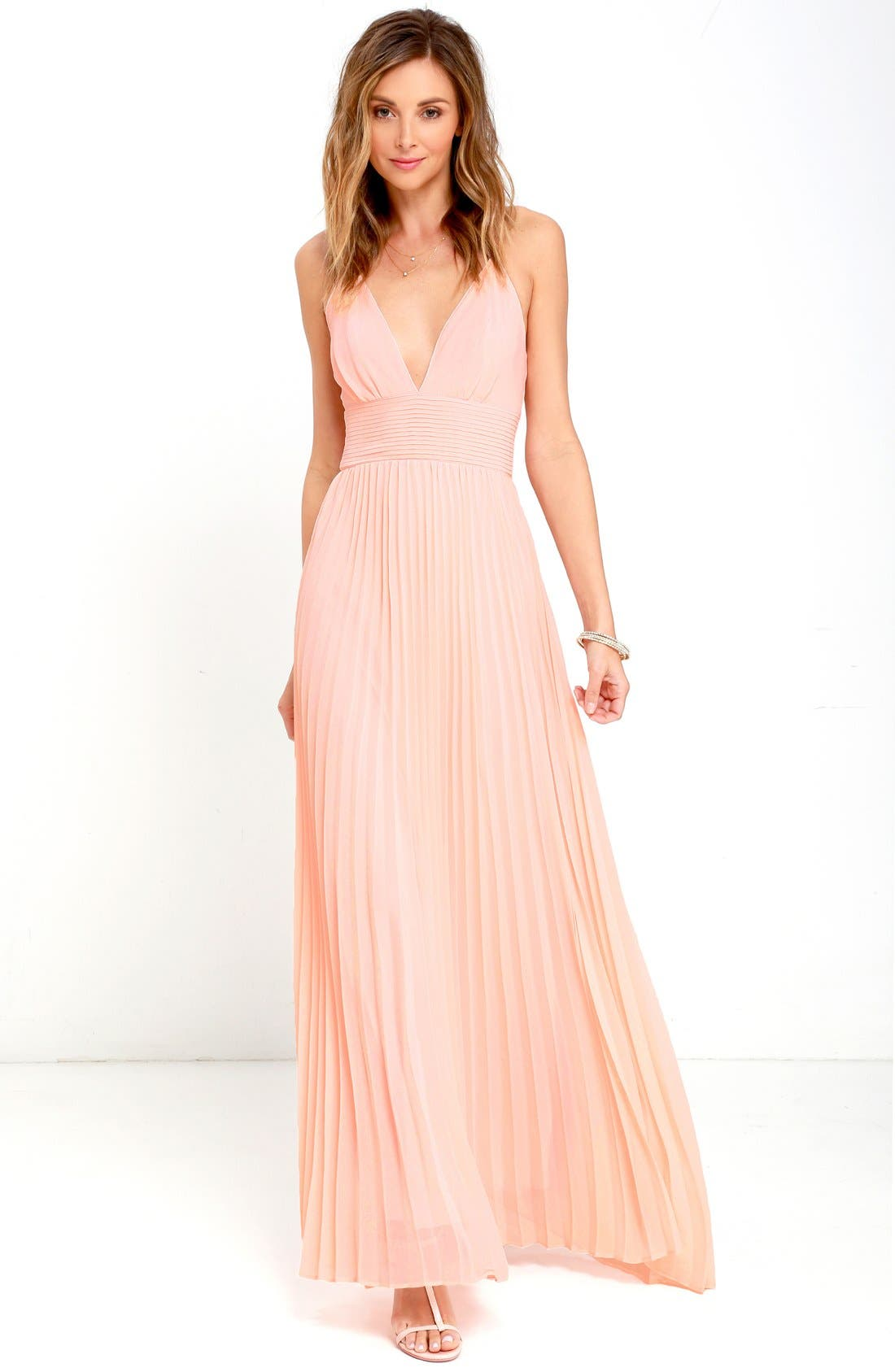 Plunging V-Neck Pleat Georgette Gown,                             Alternate thumbnail 19, color,