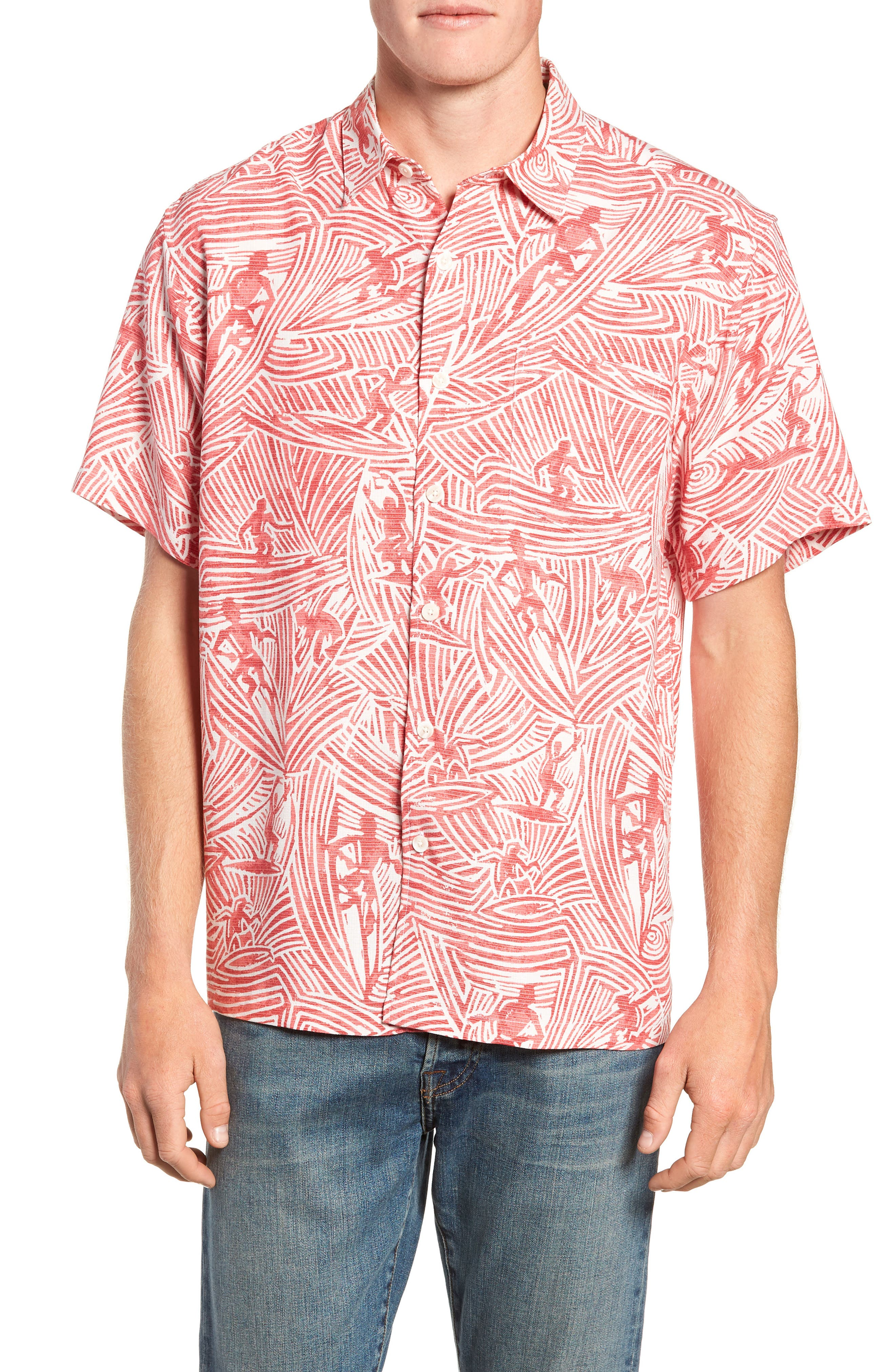 Kahala Surf Carvings Classic Fit Sport Shirt, Red