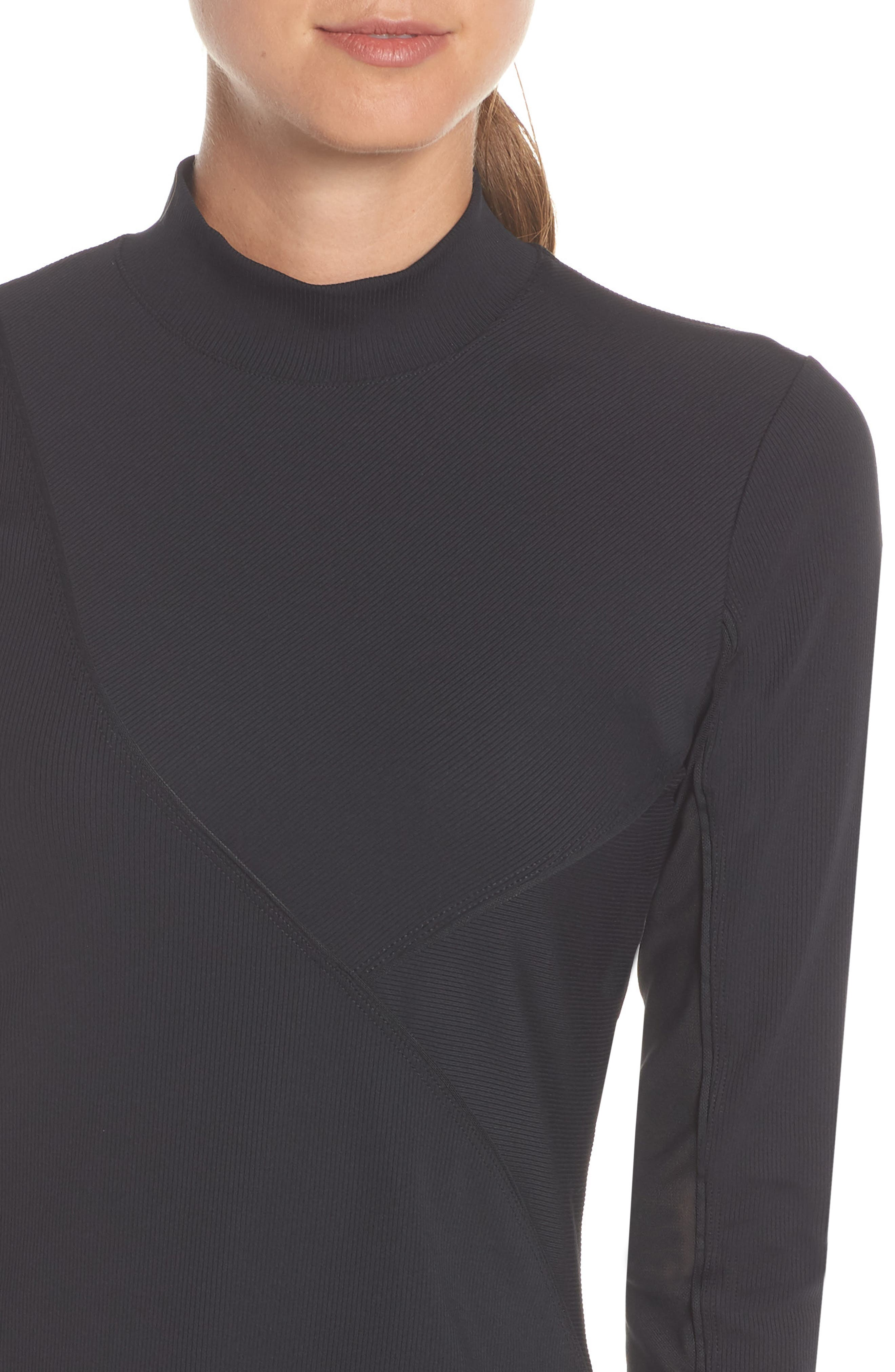 The Nike Pro HyperCool Women's Long Sleeve Ribbed Top,                             Alternate thumbnail 4, color,                             BLACK/ CLEAR