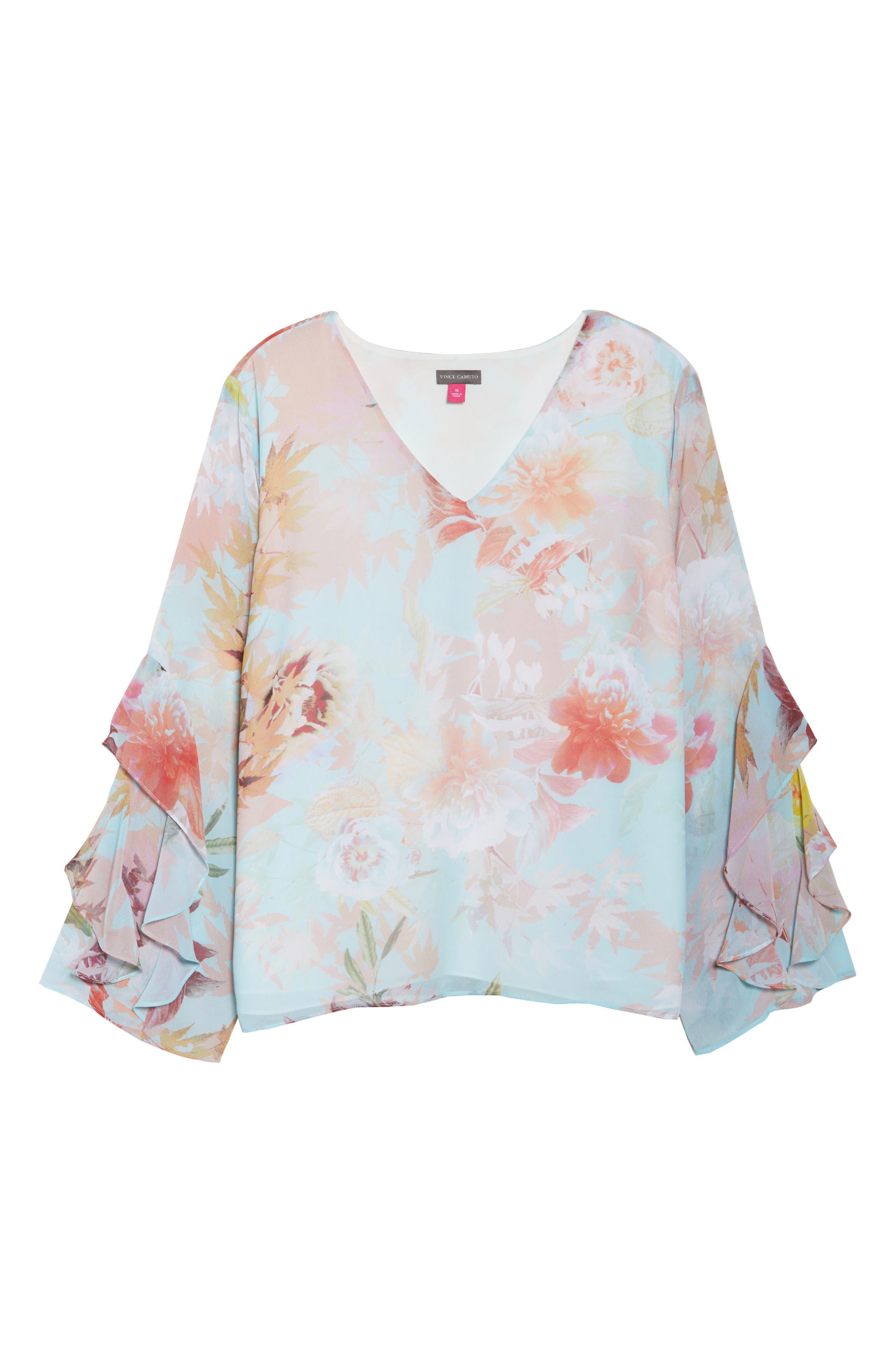 Faded Bloom Ruffle Sleeve Blouse,                             Alternate thumbnail 6, color,                             387