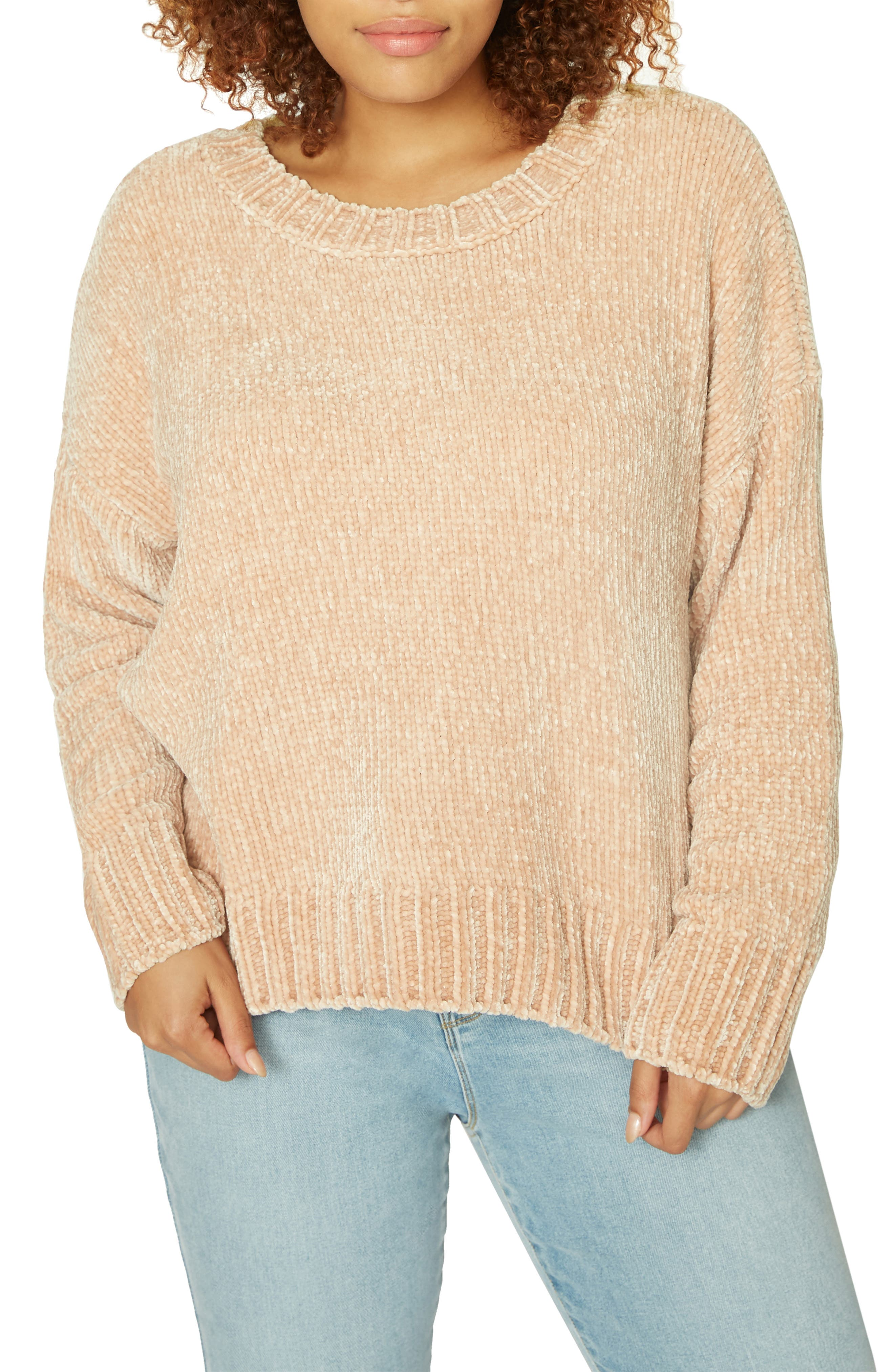 Chenille Crewneck Sweater,                             Main thumbnail 1, color,                             CHAMPAGNE