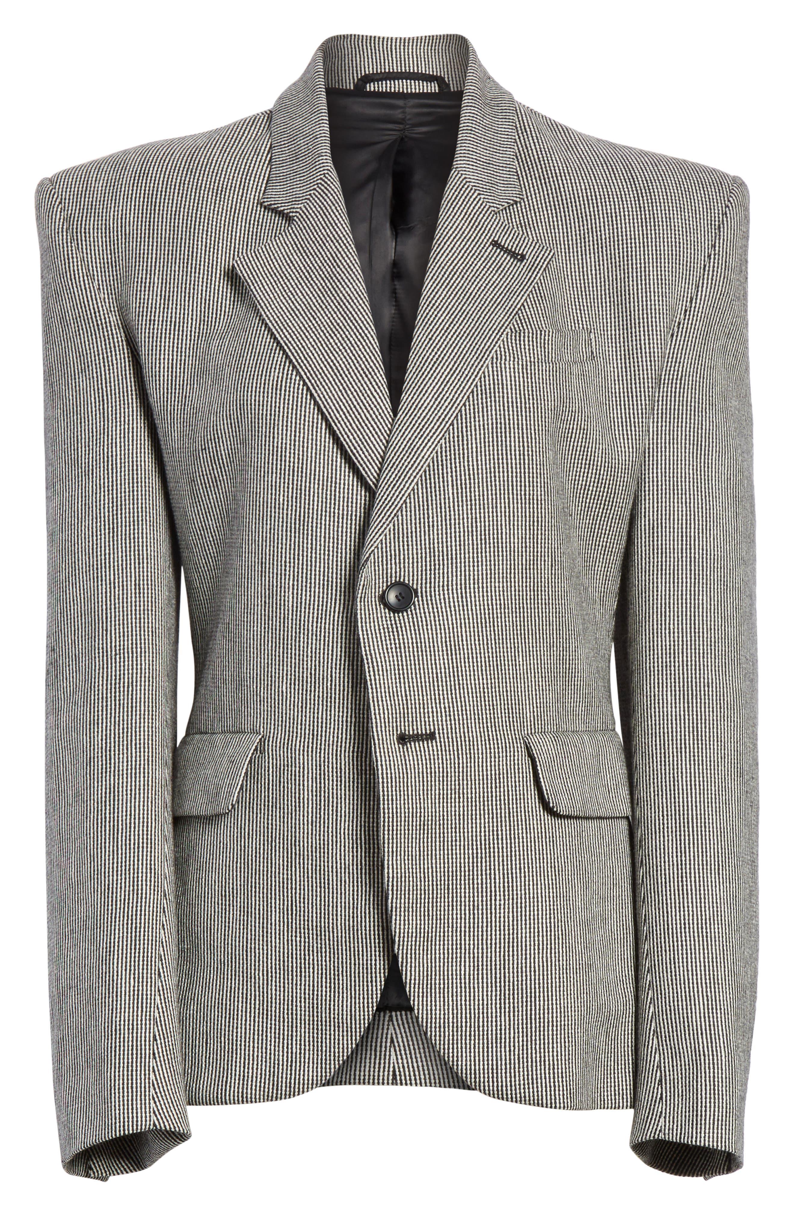 Stripe Tweed Blazer,                             Alternate thumbnail 5, color,                             020