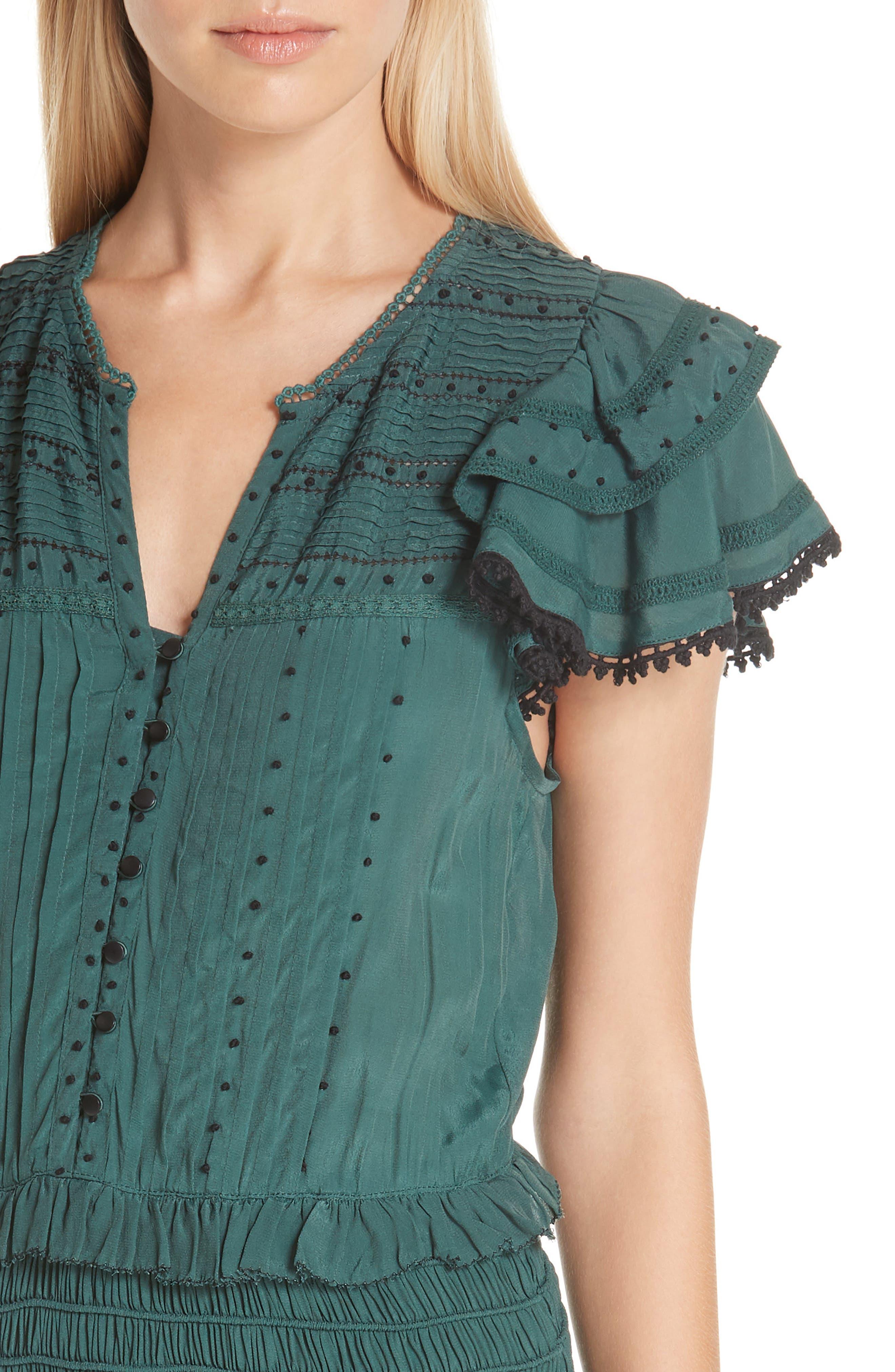 Azzedine Flutter Sleeve Smocked Midi Dress,                             Alternate thumbnail 4, color,                             FOREST
