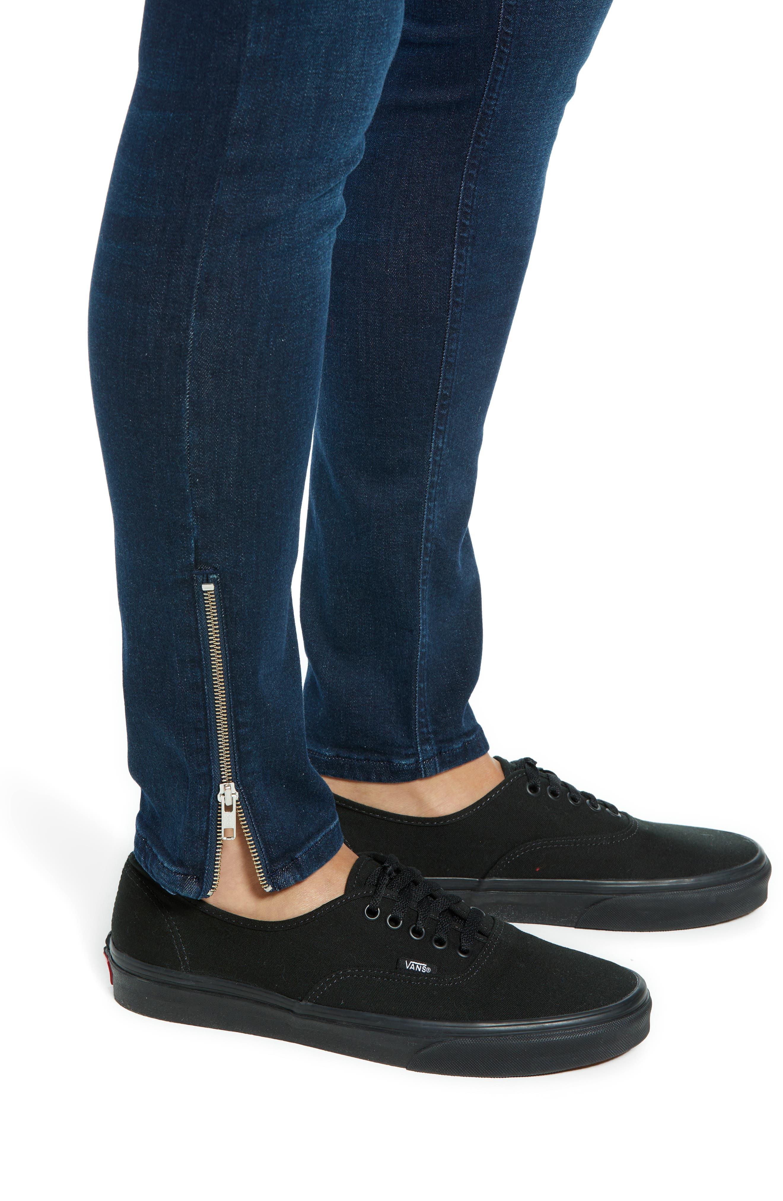 Zip Hem Spray-On Skinny Jeans,                             Alternate thumbnail 4, color,                             BLUE
