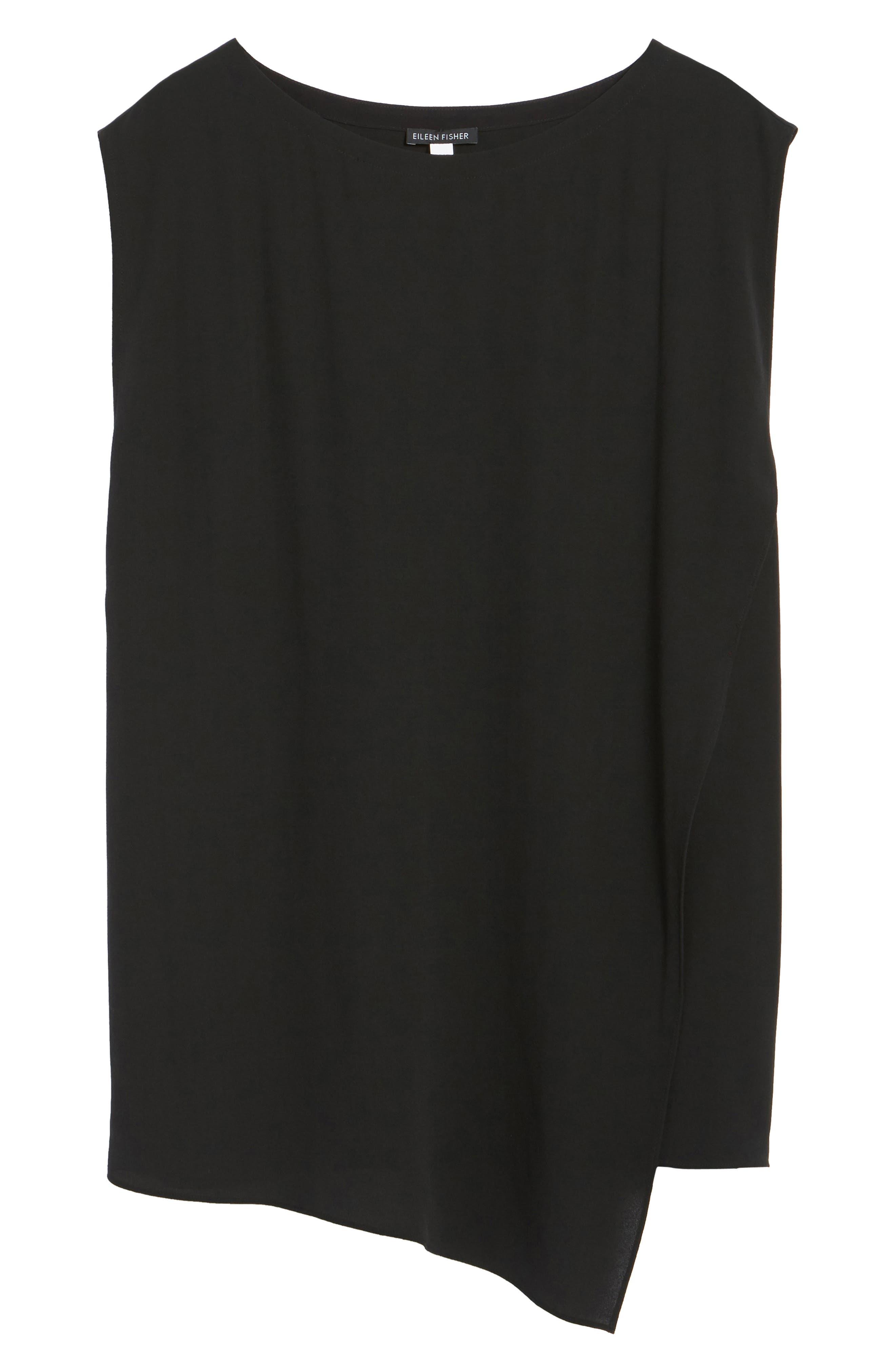 Asymmetrical Silk Tunic,                             Alternate thumbnail 6, color,                             001