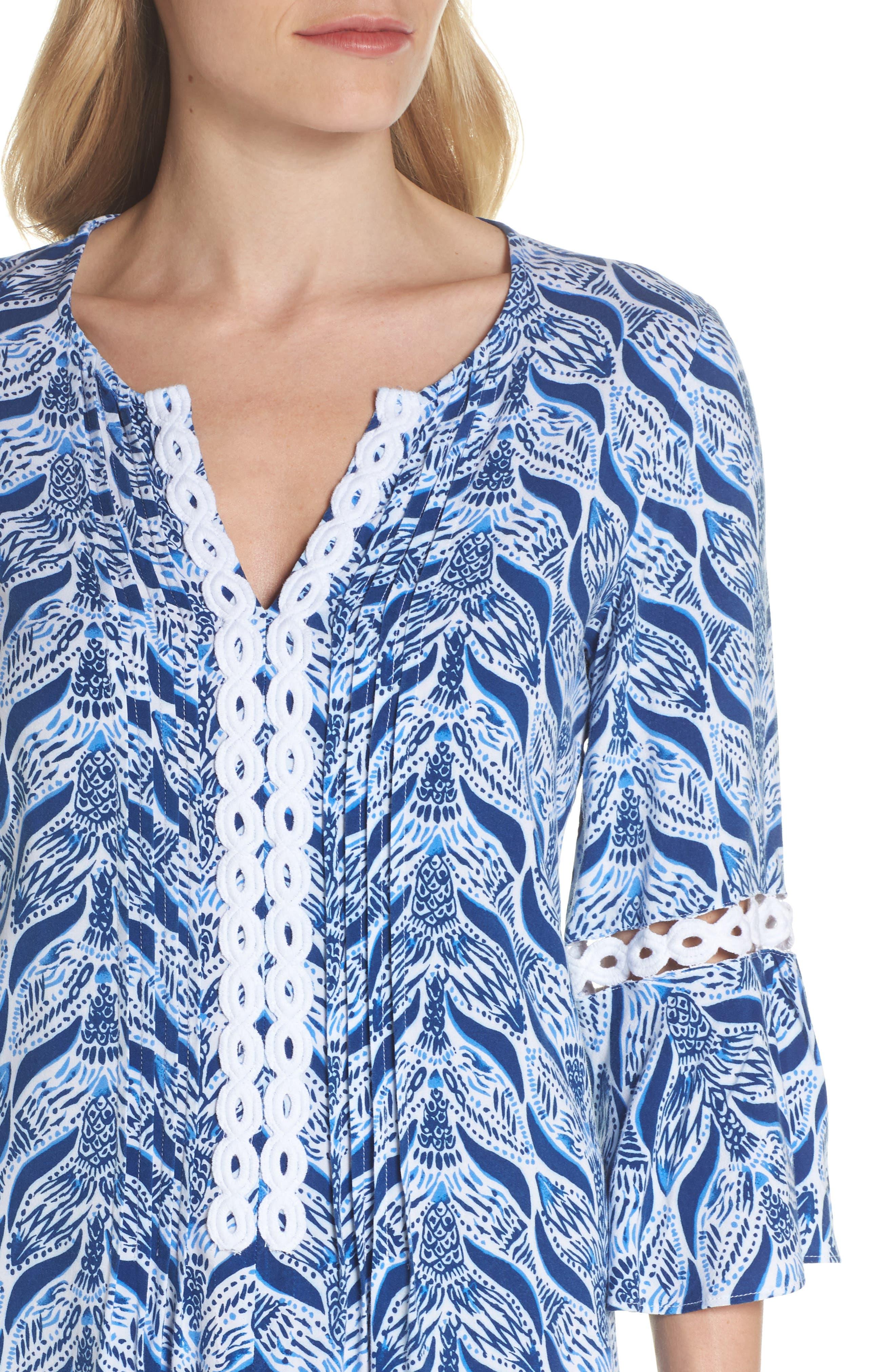 Hollie Tunic Dress,                             Alternate thumbnail 4, color,                             RESORT WHITE A MERMAIDS TAIL