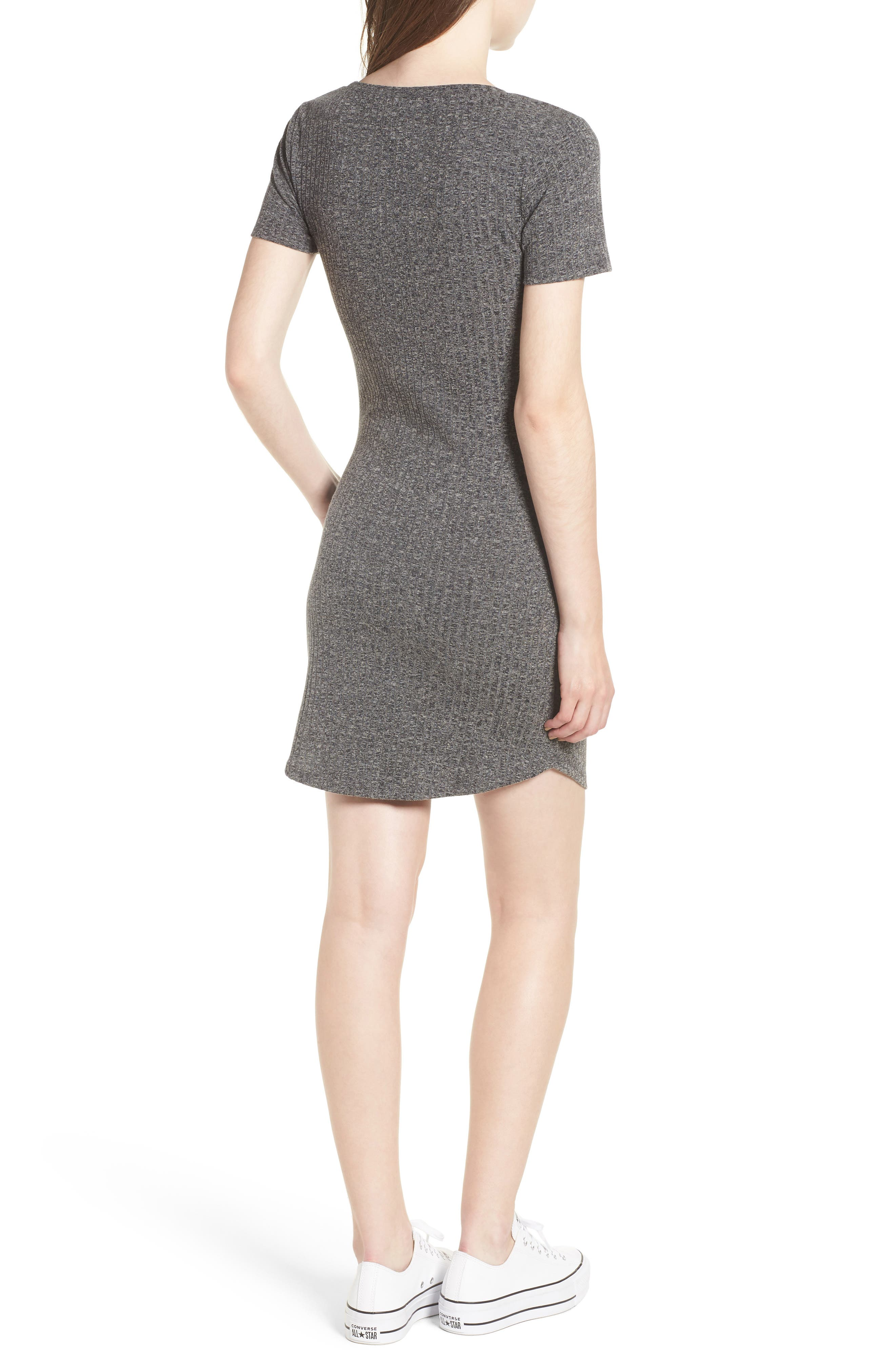Ruched Ribbed Body-Con Dress,                             Alternate thumbnail 2, color,                             GREY MEDIUM CHARCOAL HEATHER