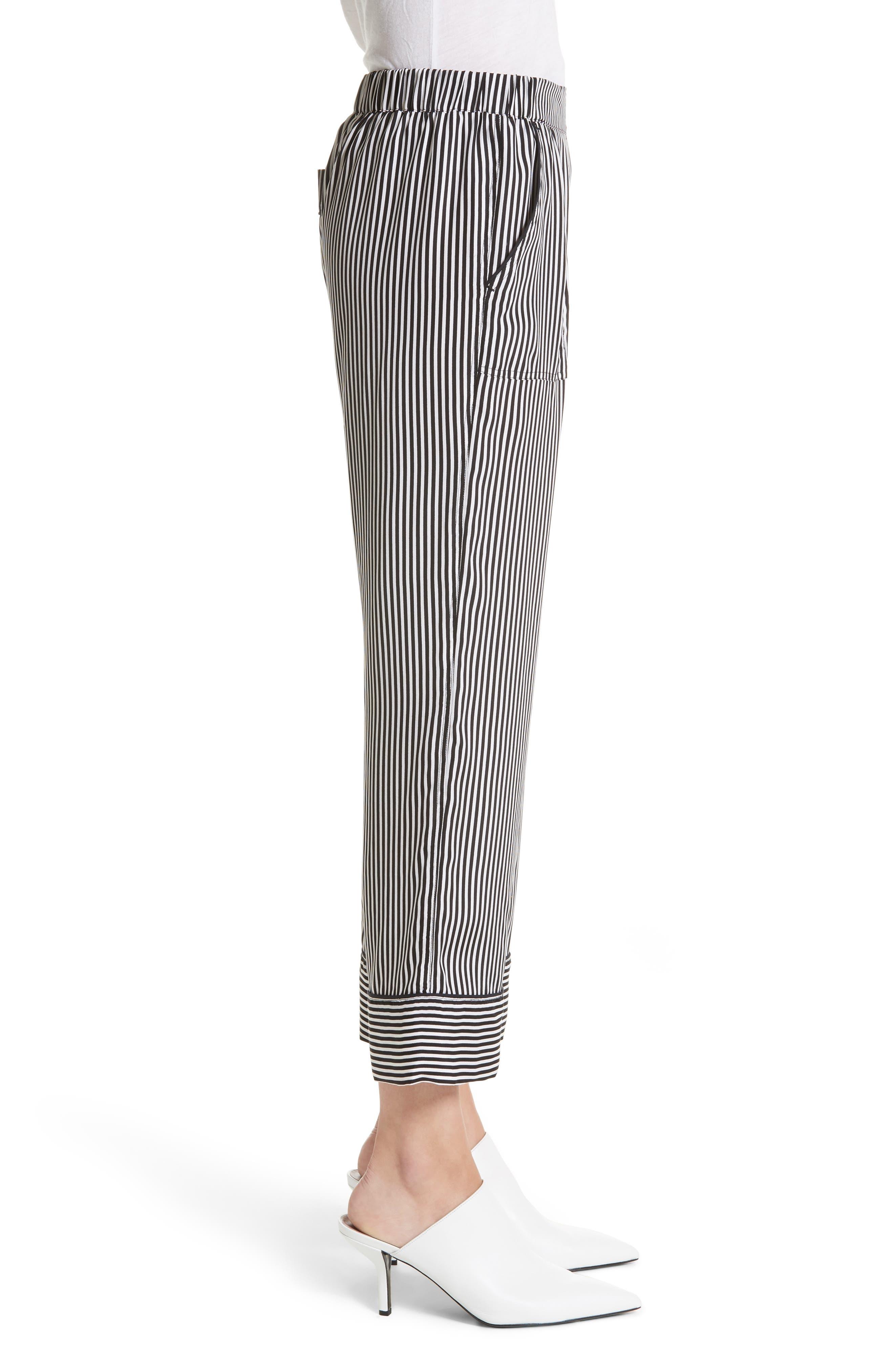 Pencil Stripe Silk Pajama Trousers,                             Alternate thumbnail 3, color,                             001