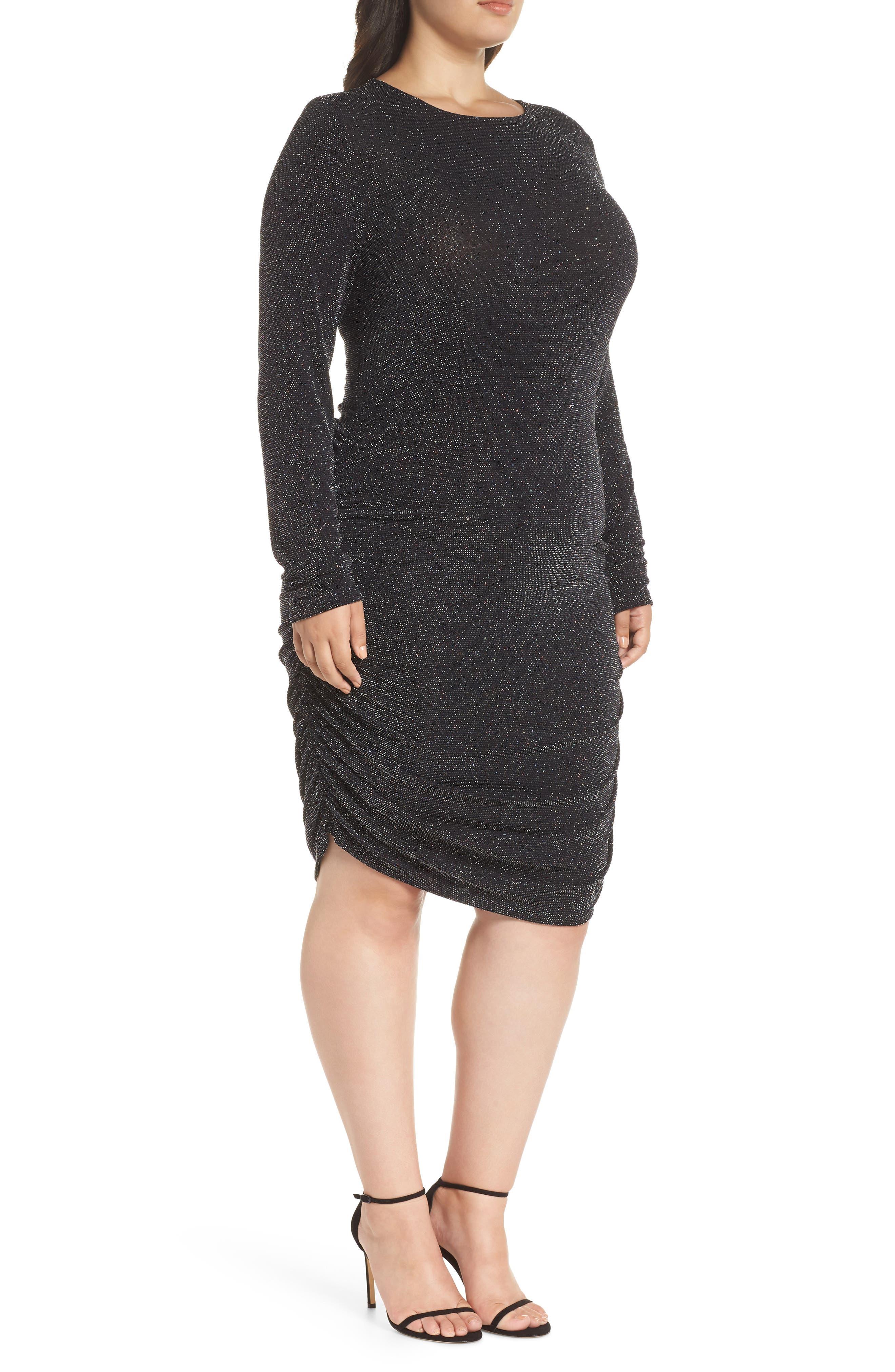 Metallic Body-Con Dress,                             Alternate thumbnail 3, color,                             BLACK MULTI GLITTER