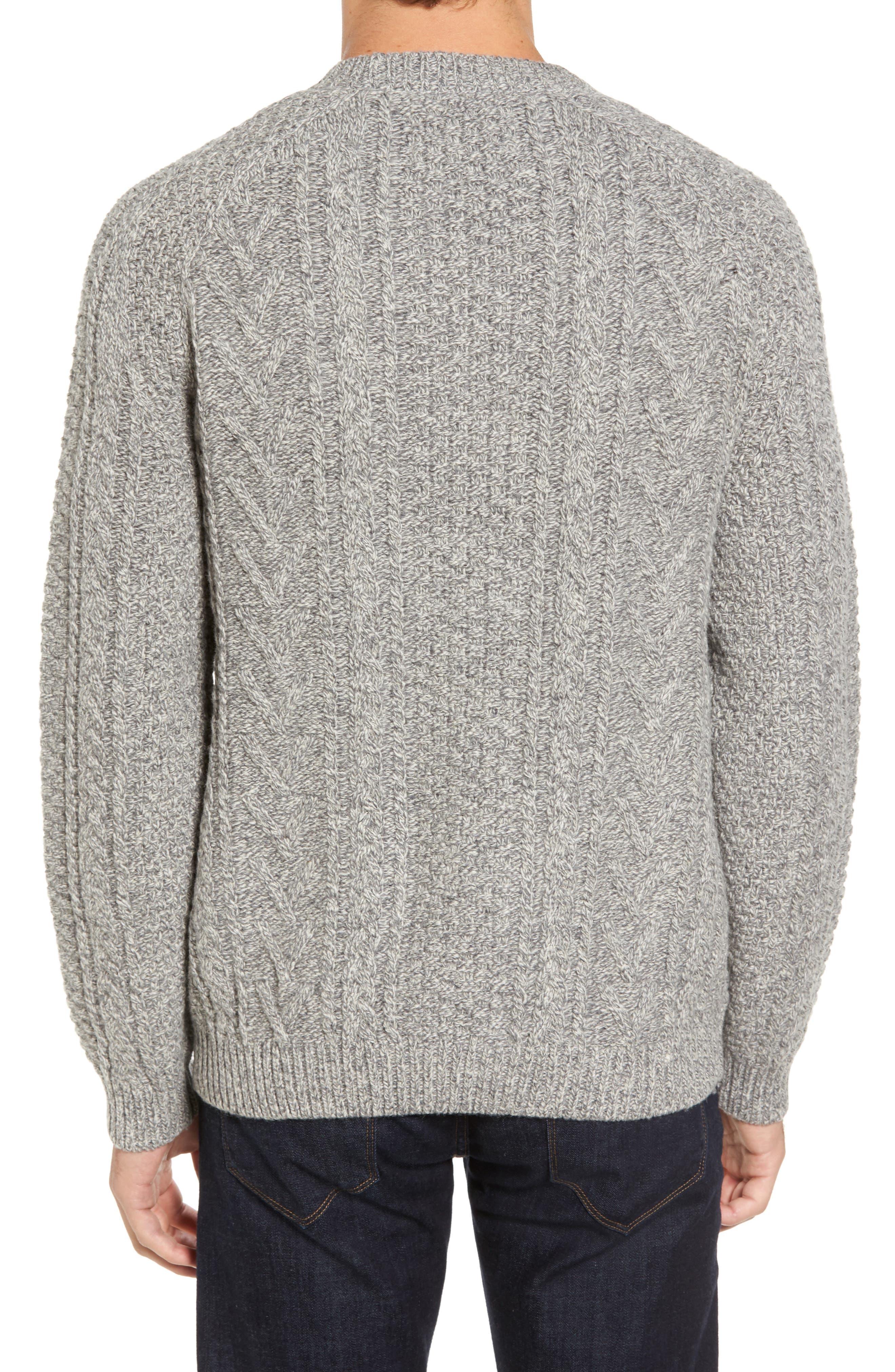 Fisherman Knit Wool Blend Sweater,                             Alternate thumbnail 3, color,