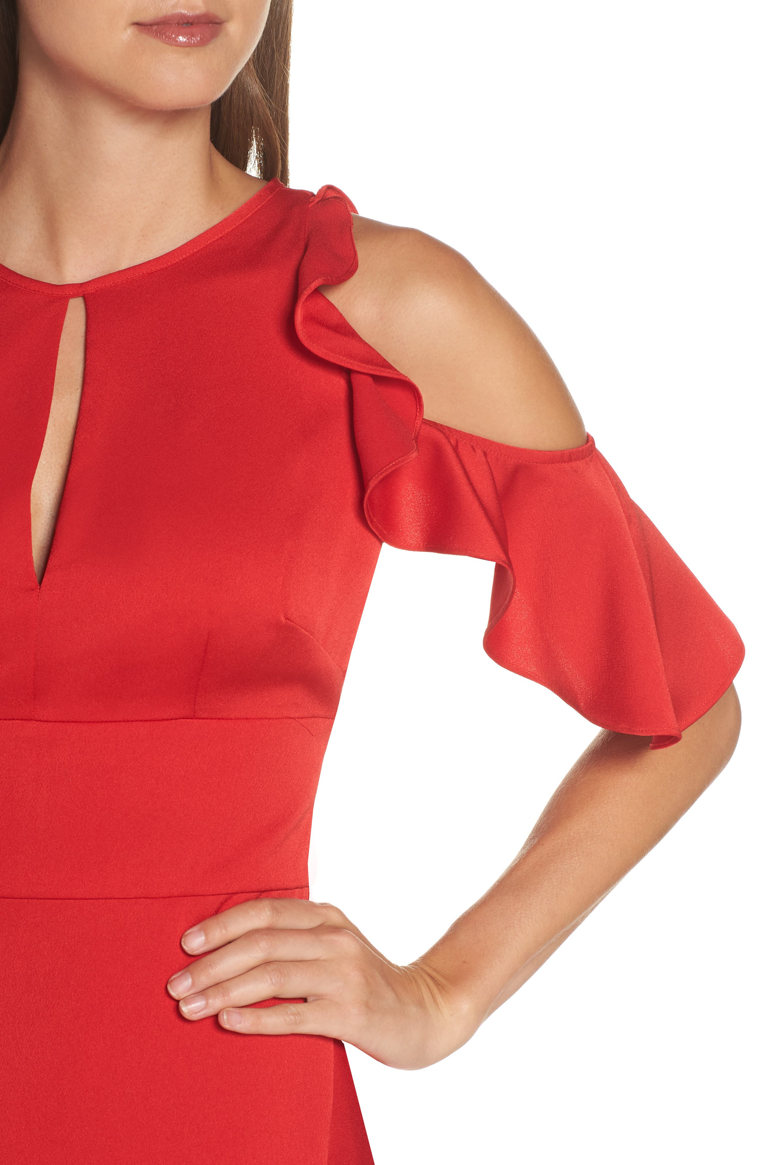 Ruffle Cold Shoulder Gown,                             Alternate thumbnail 4, color,                             RED