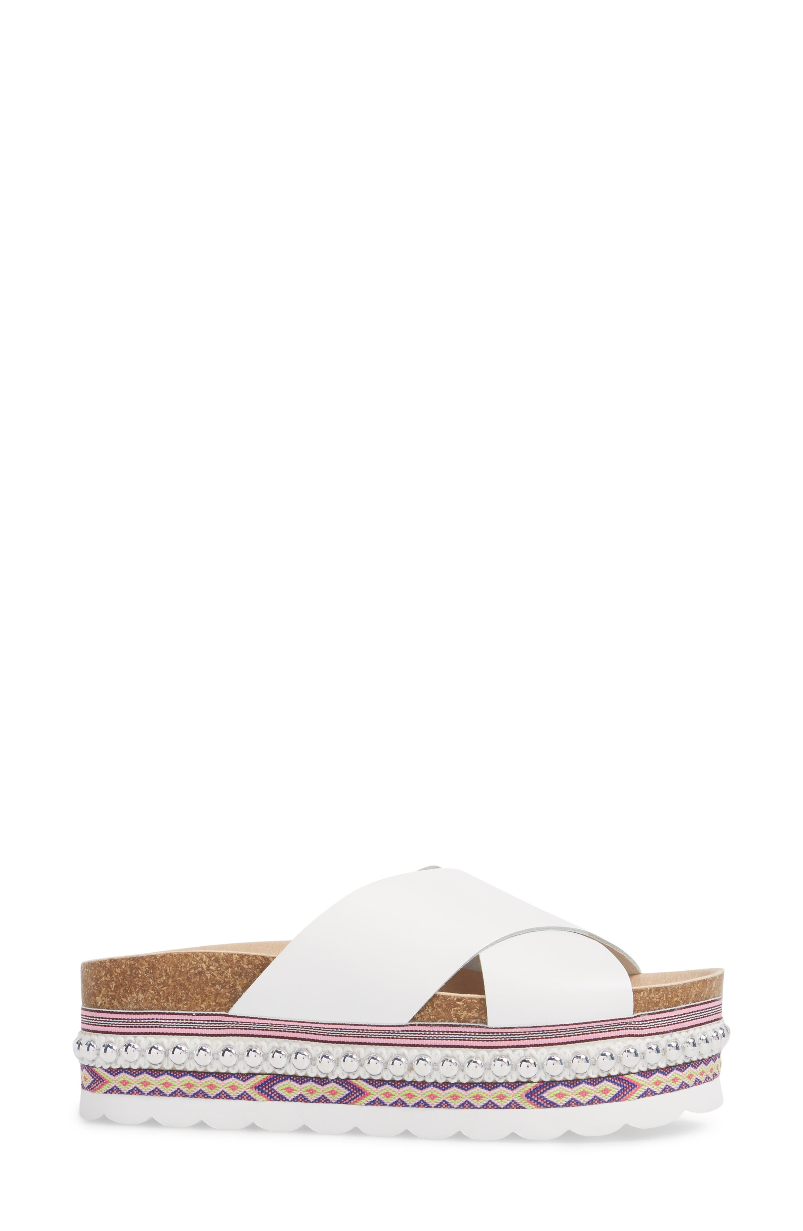 Torri Platform Slide Sandal,                             Alternate thumbnail 3, color,                             WHITE LEATHER