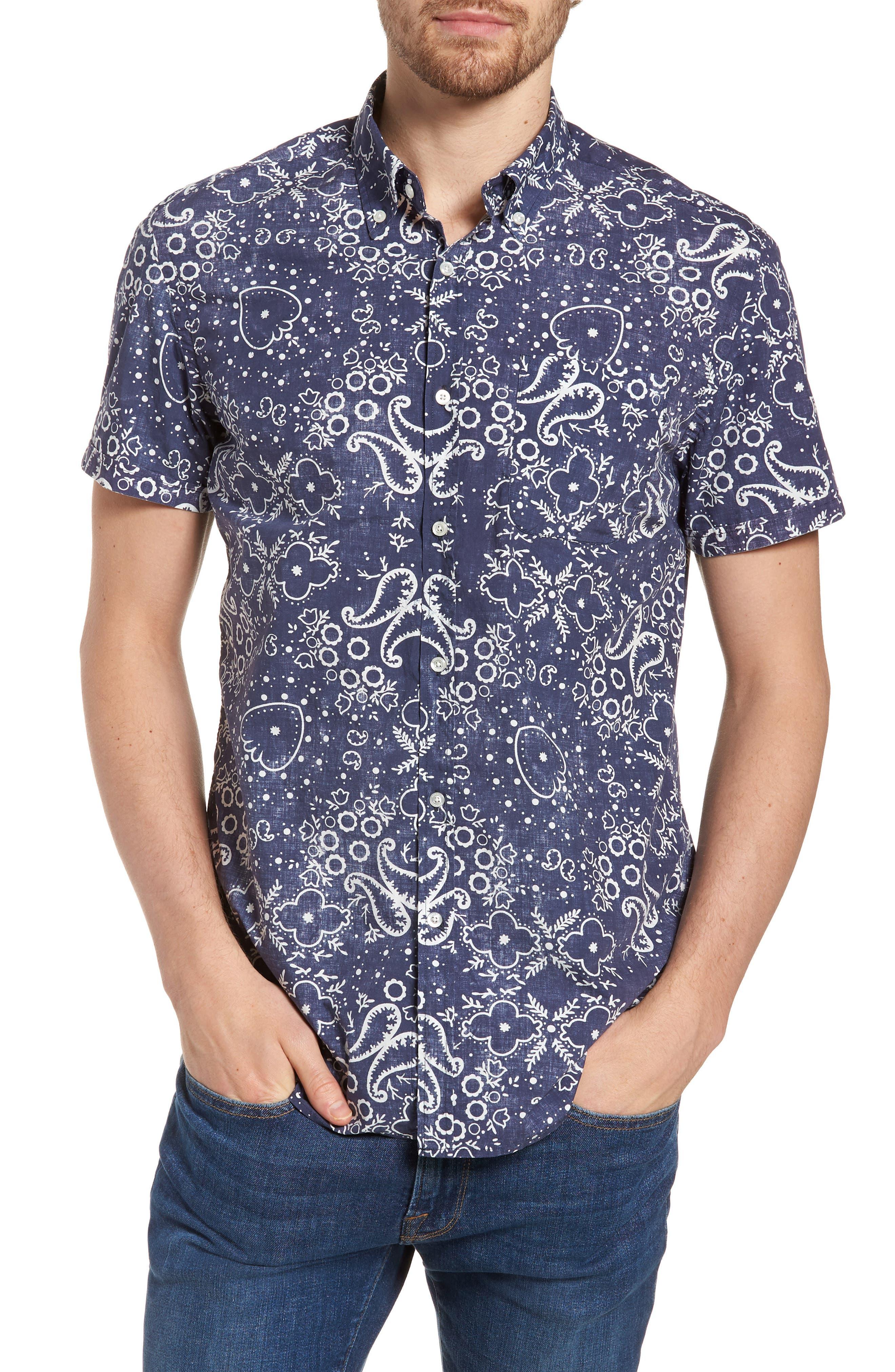 & Bros. Paisley Sport Shirt,                         Main,                         color, ALPINE NAVY