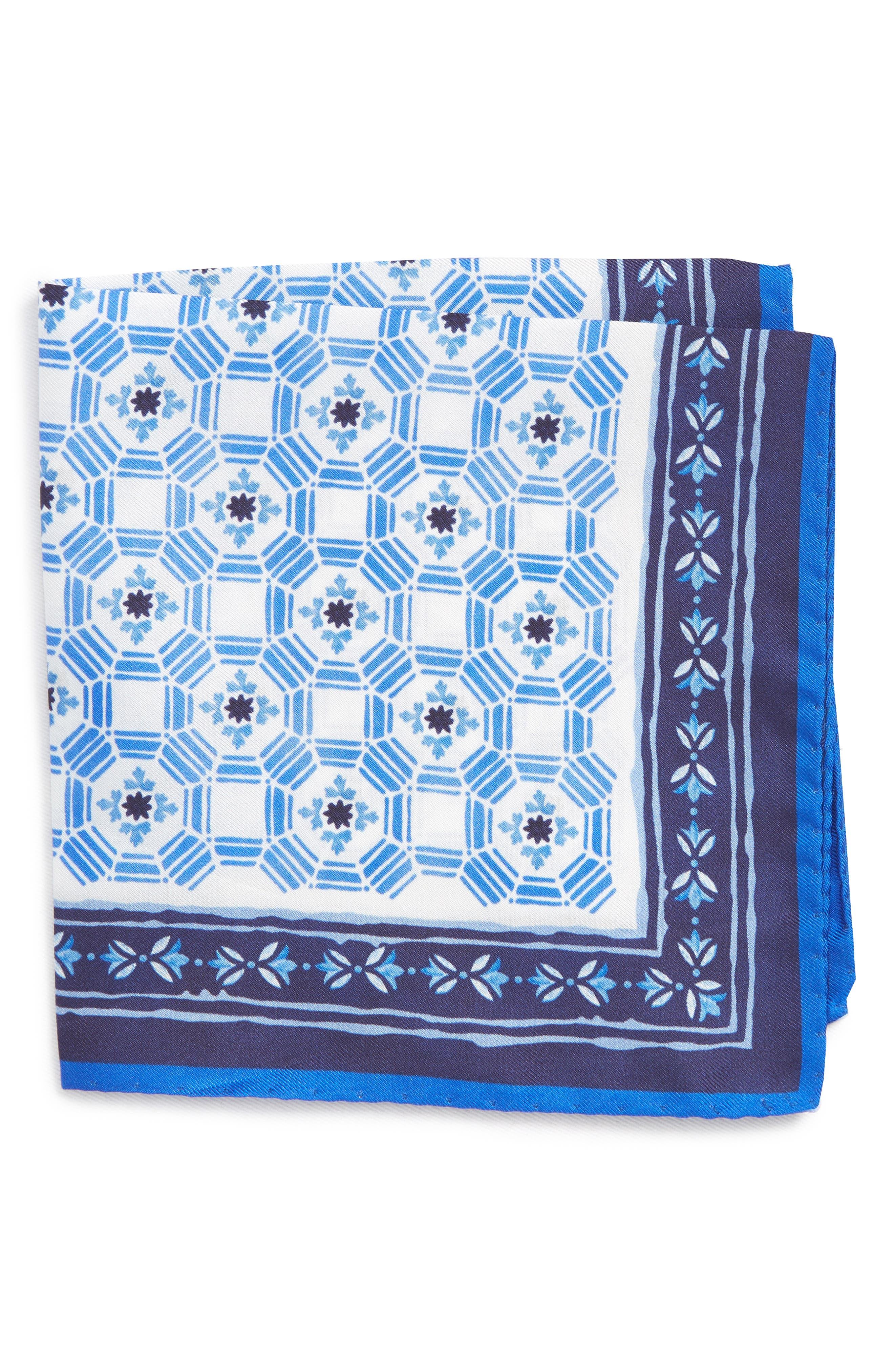 Medallion Silk Pocket Square,                             Main thumbnail 1, color,                             NAVY \ BLUE