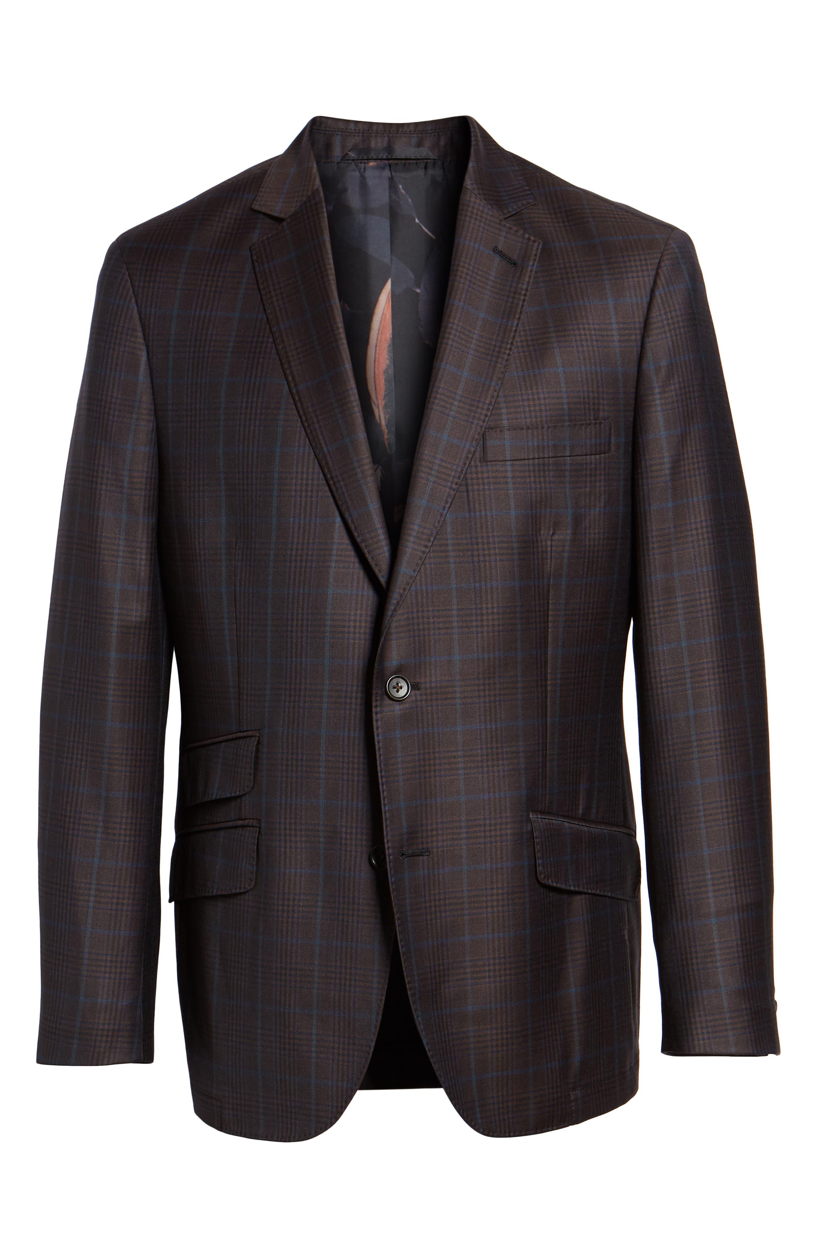 Regular Fit Super 130's Wool Blazer,                             Alternate thumbnail 5, color,                             BROWN