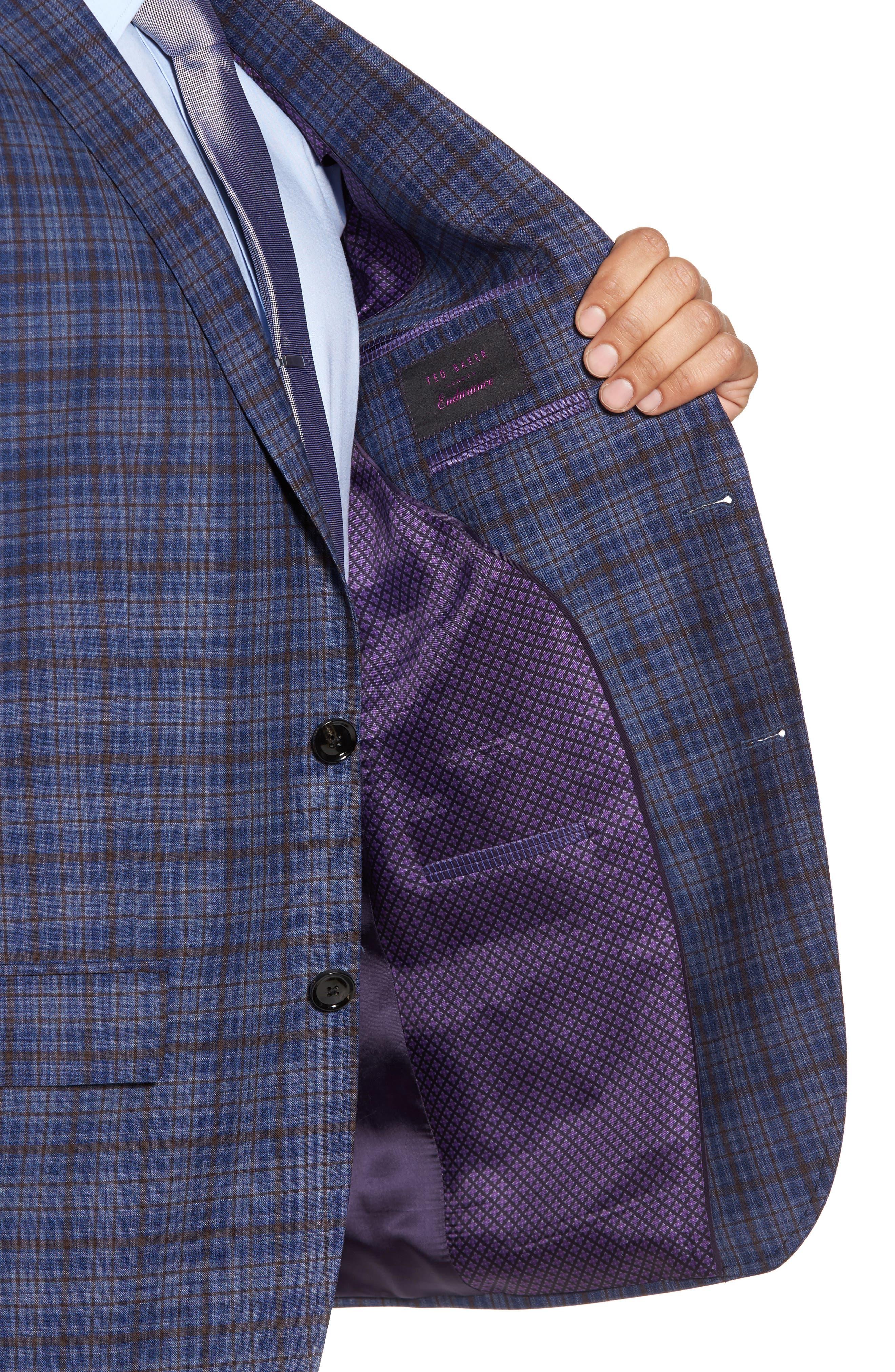 Konan Trim Fit Plaid Wool Sport Coat,                             Alternate thumbnail 4, color,