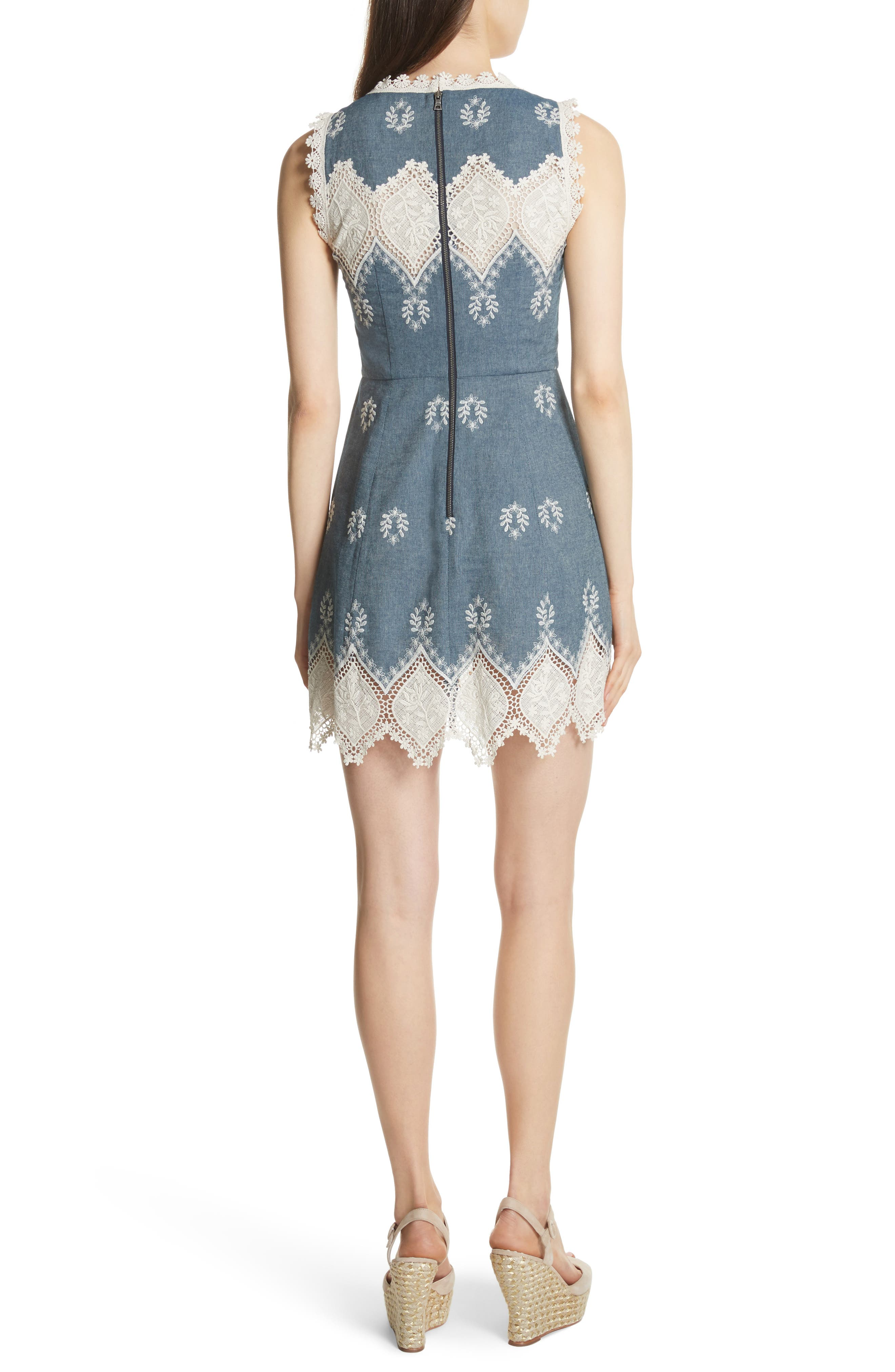 Embroidered Minidress,                             Alternate thumbnail 2, color,                             405