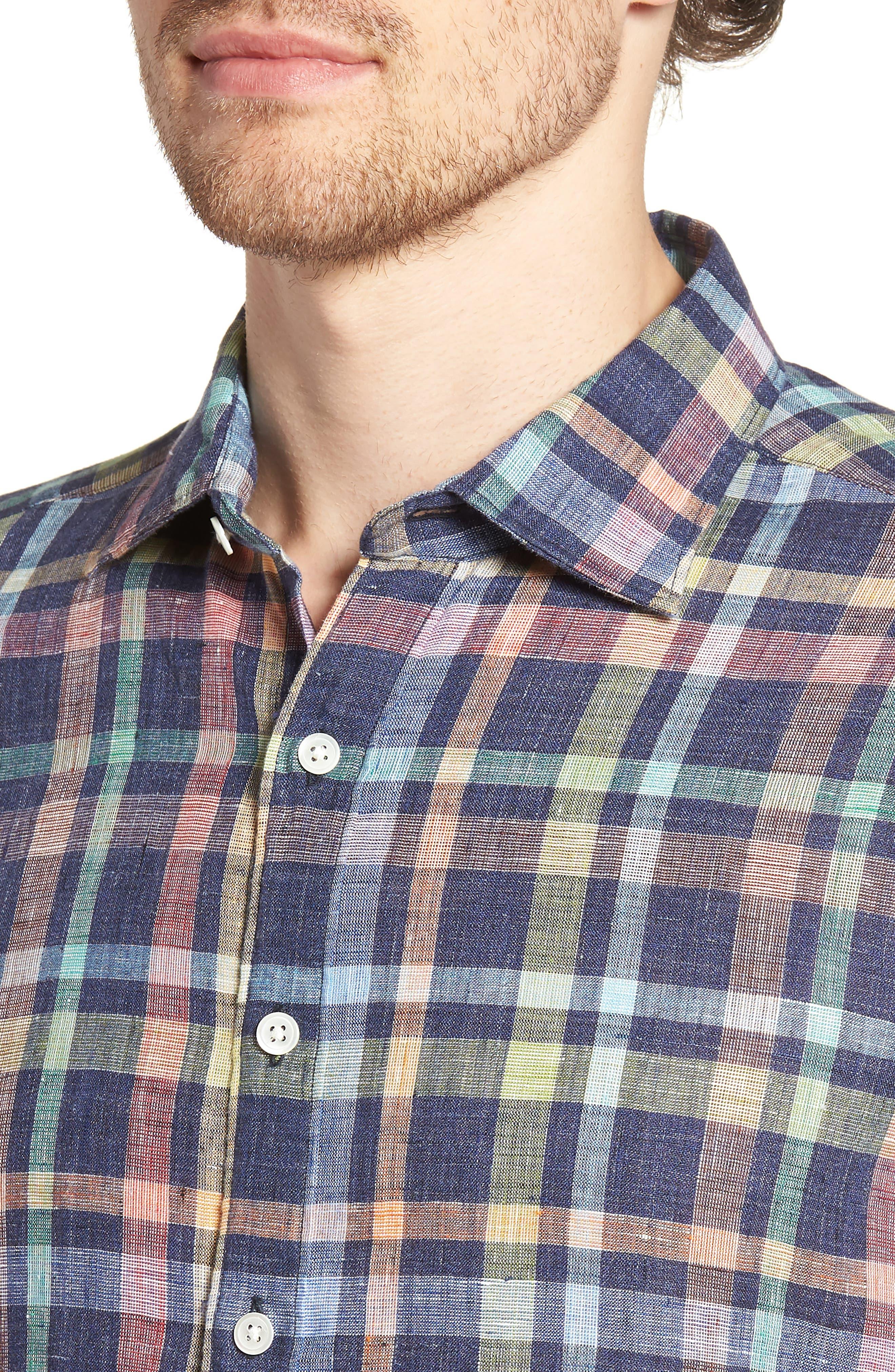 Stirling Plaid Linen Sport Shirt,                             Alternate thumbnail 4, color,                             401