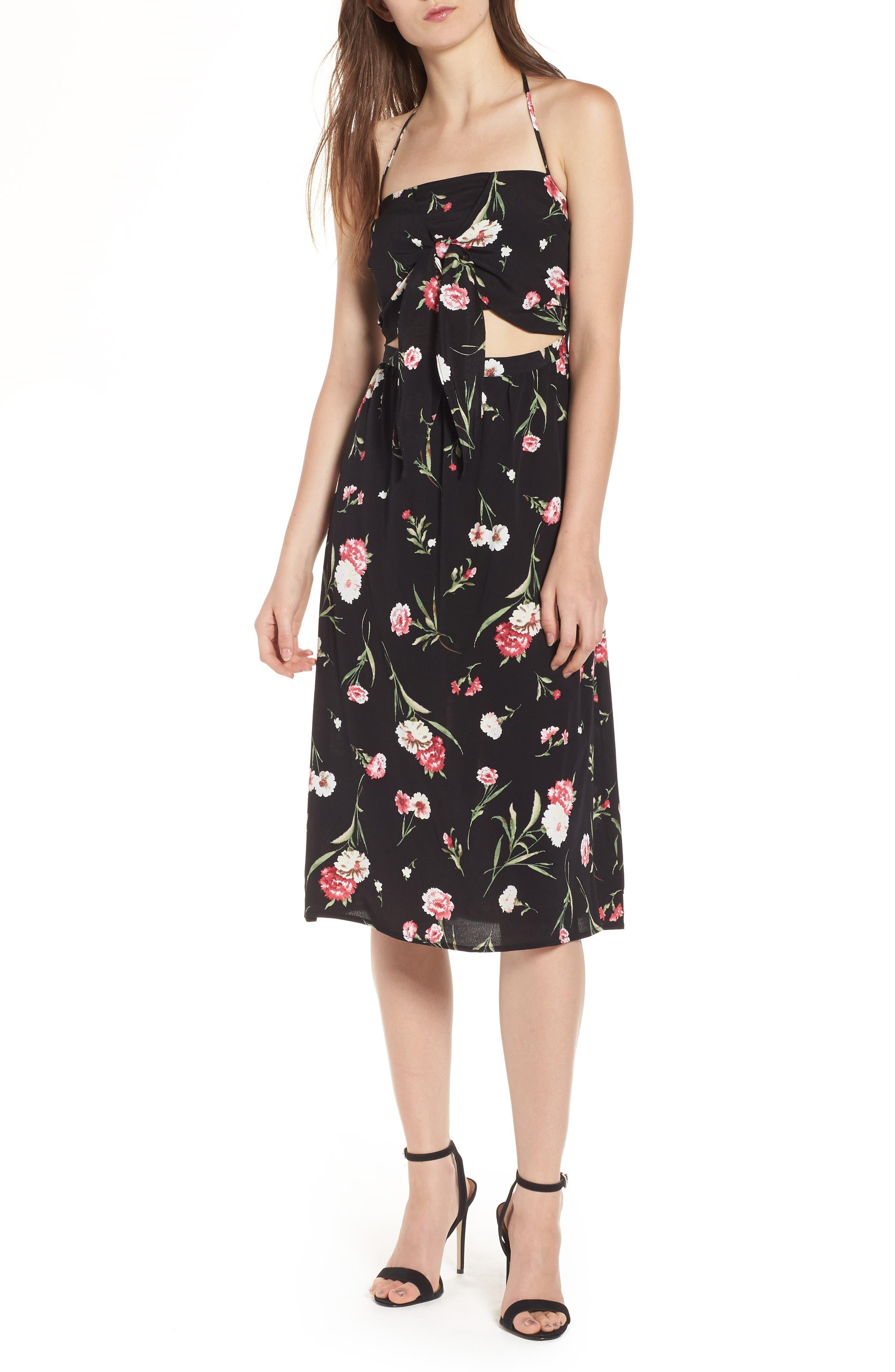 Tie Front Floral Dress,                             Main thumbnail 1, color,                             001