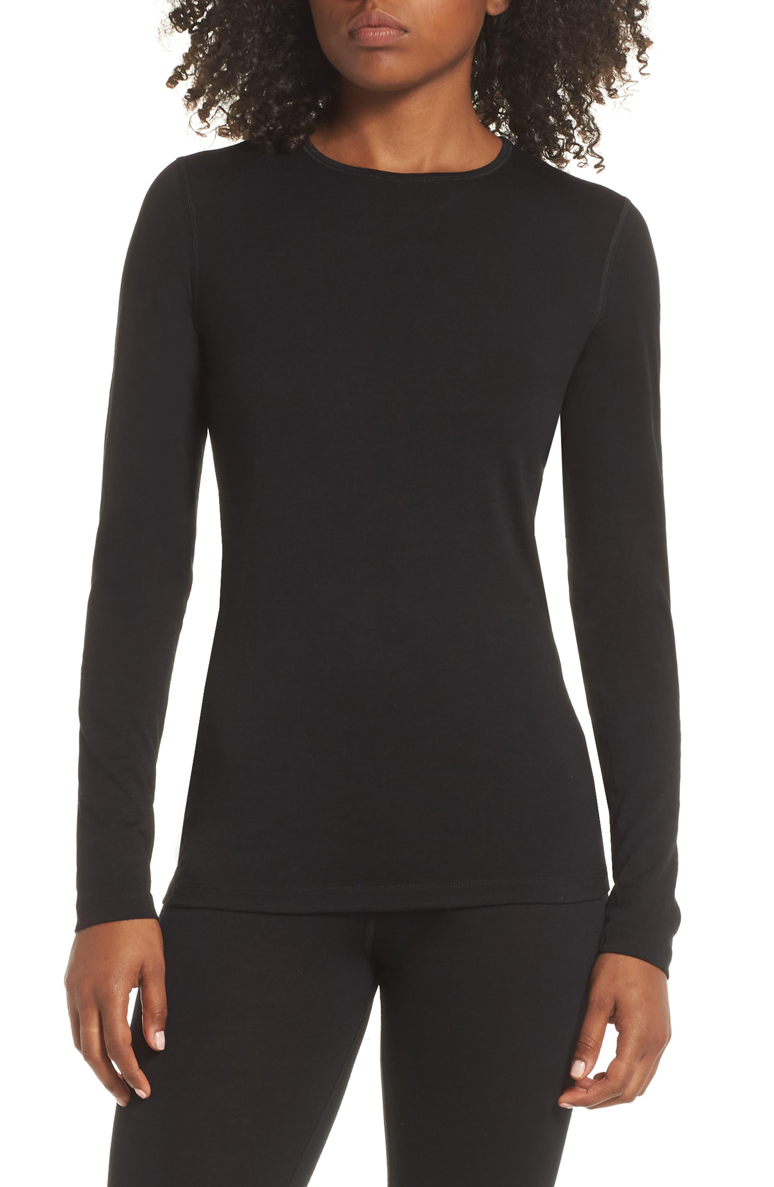 Oasis Long Sleeve Merino Wool Base Layer Tee,                             Main thumbnail 1, color,                             BLACK