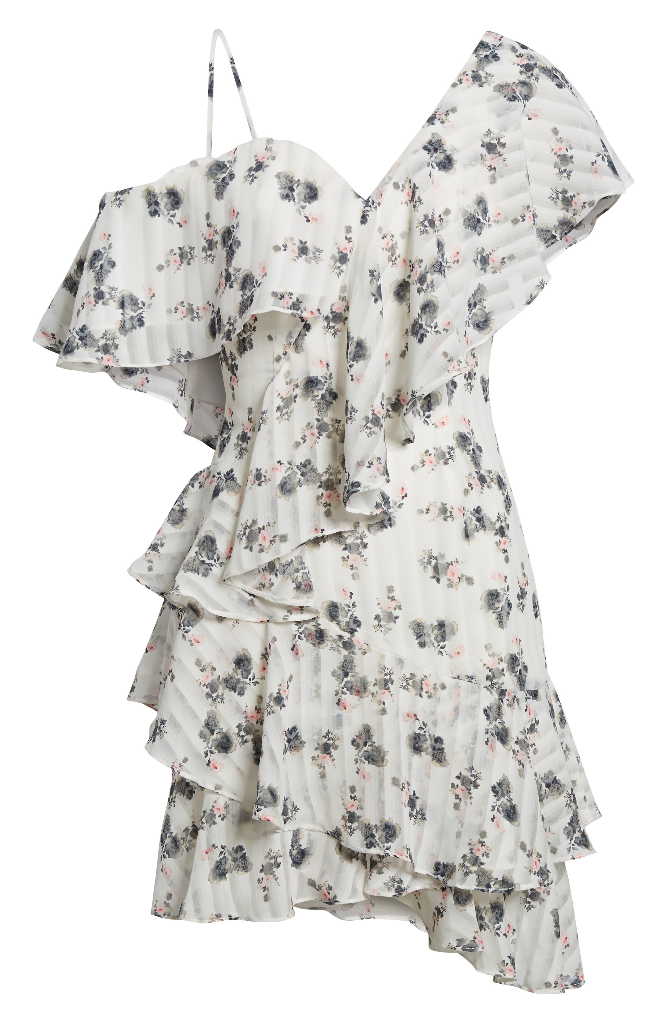 Bloom One-Shoulder Dress,                             Alternate thumbnail 6, color,                             100